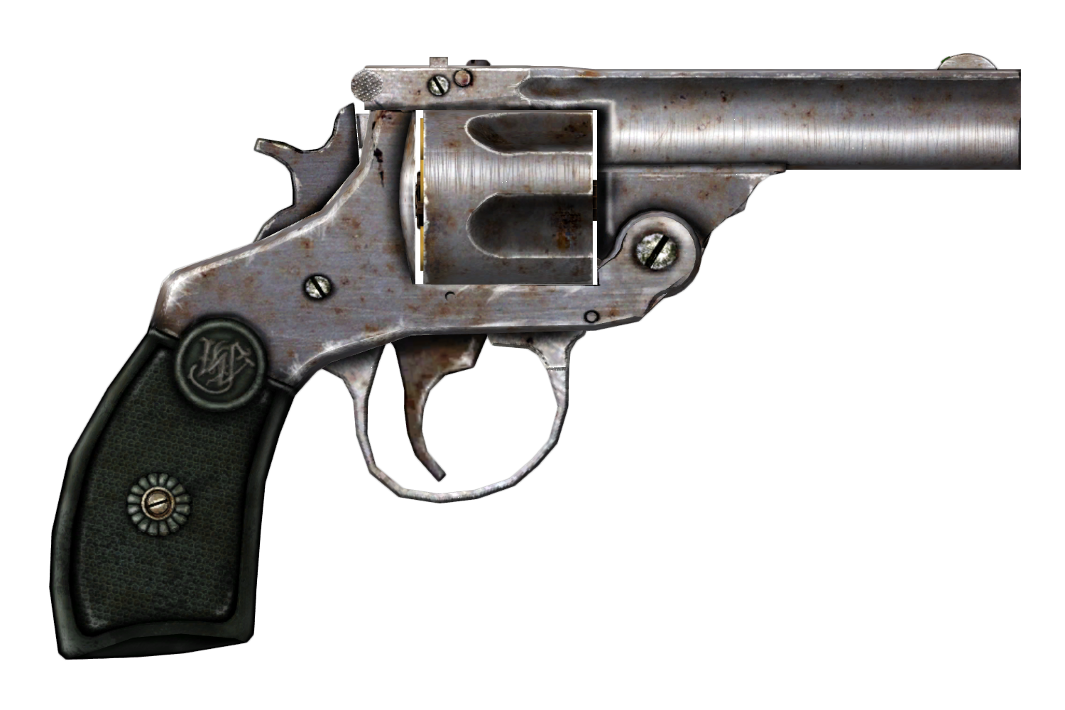 Rusty Revolver Rendered PNG Image