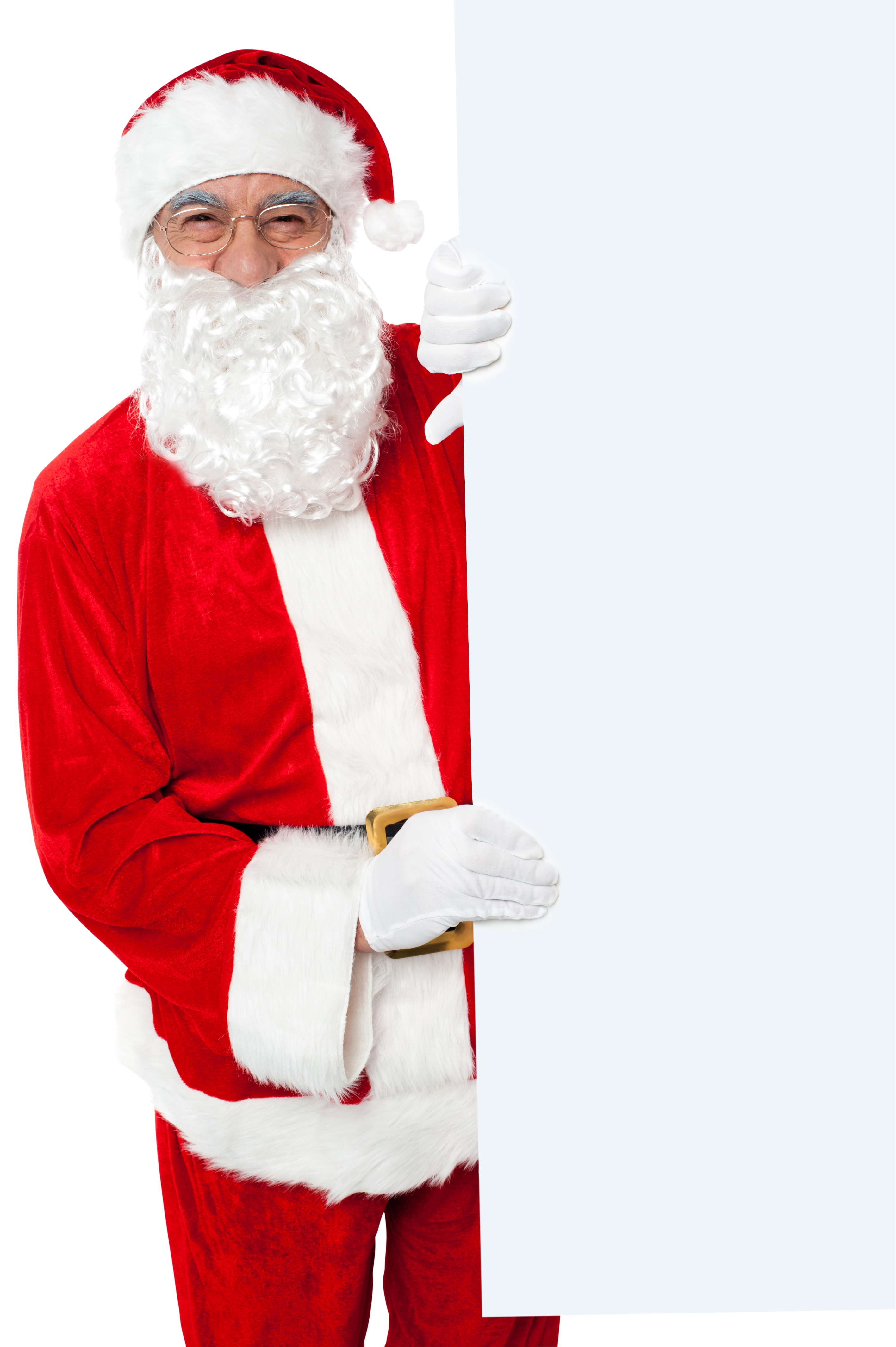 Santa Claus Holding White Paper Vertical PNG Image