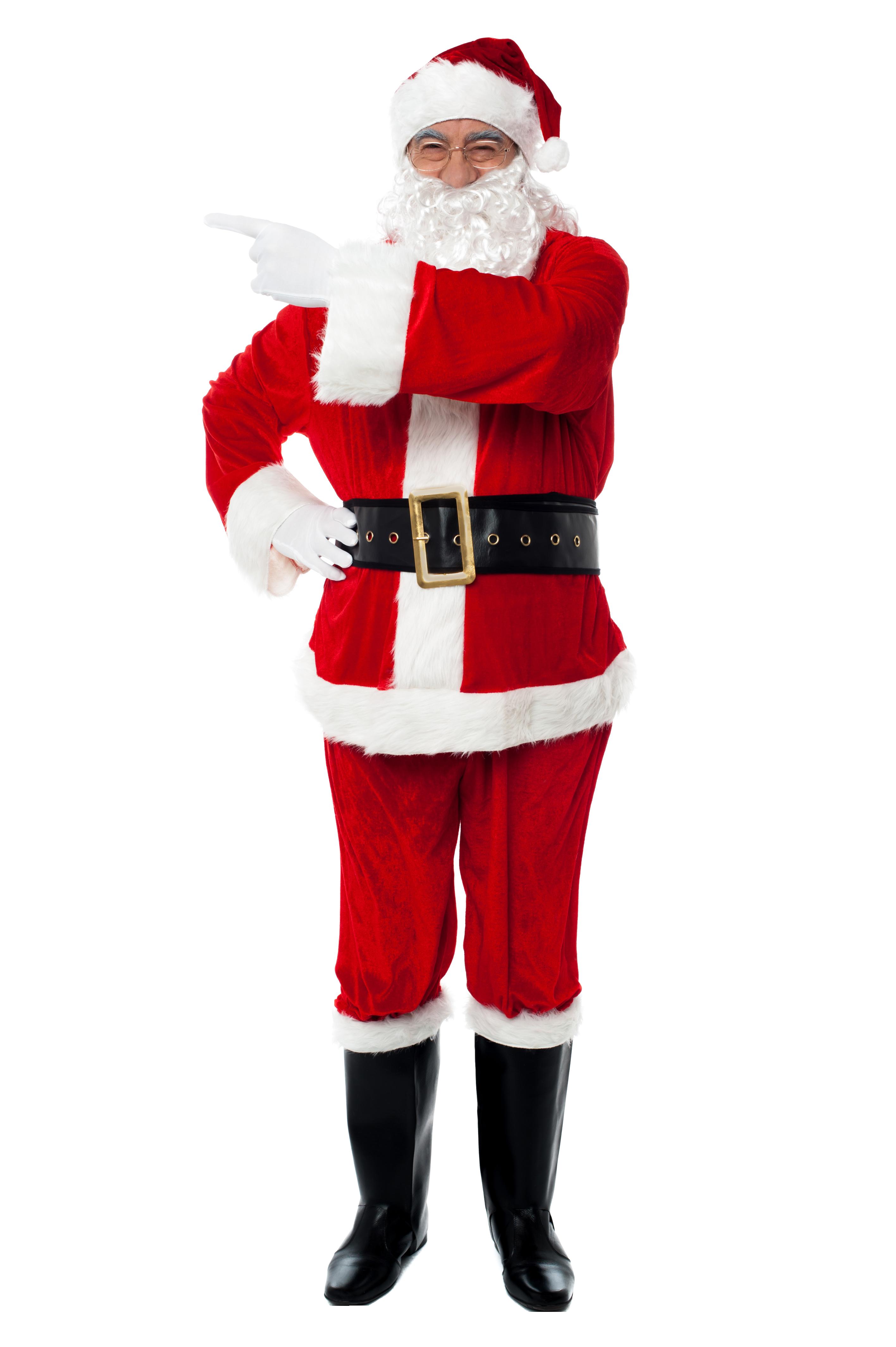 Santa Claus Points Left PNG Image