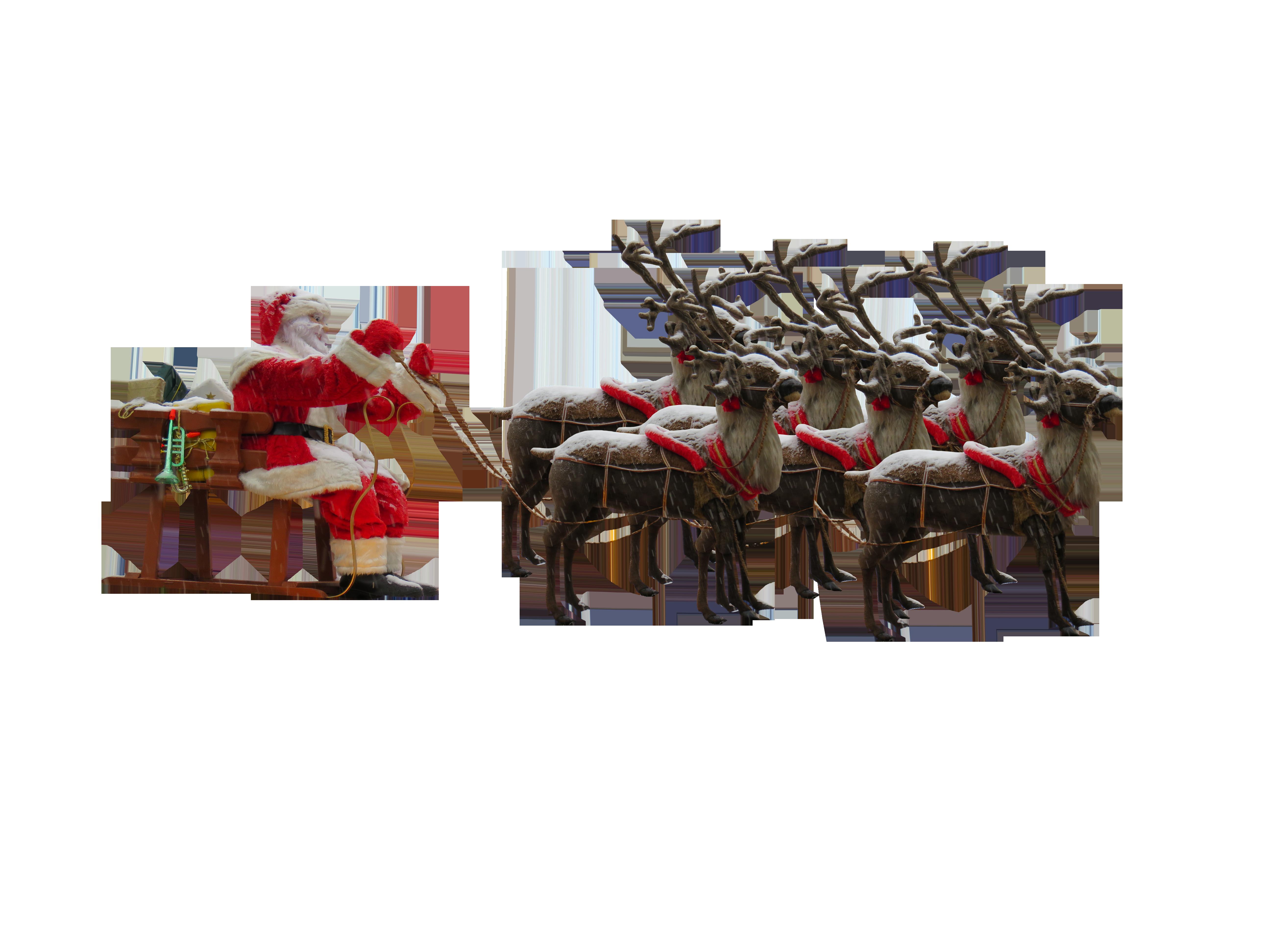 Santa Claus in Sleigh with Reindeers PNG Image