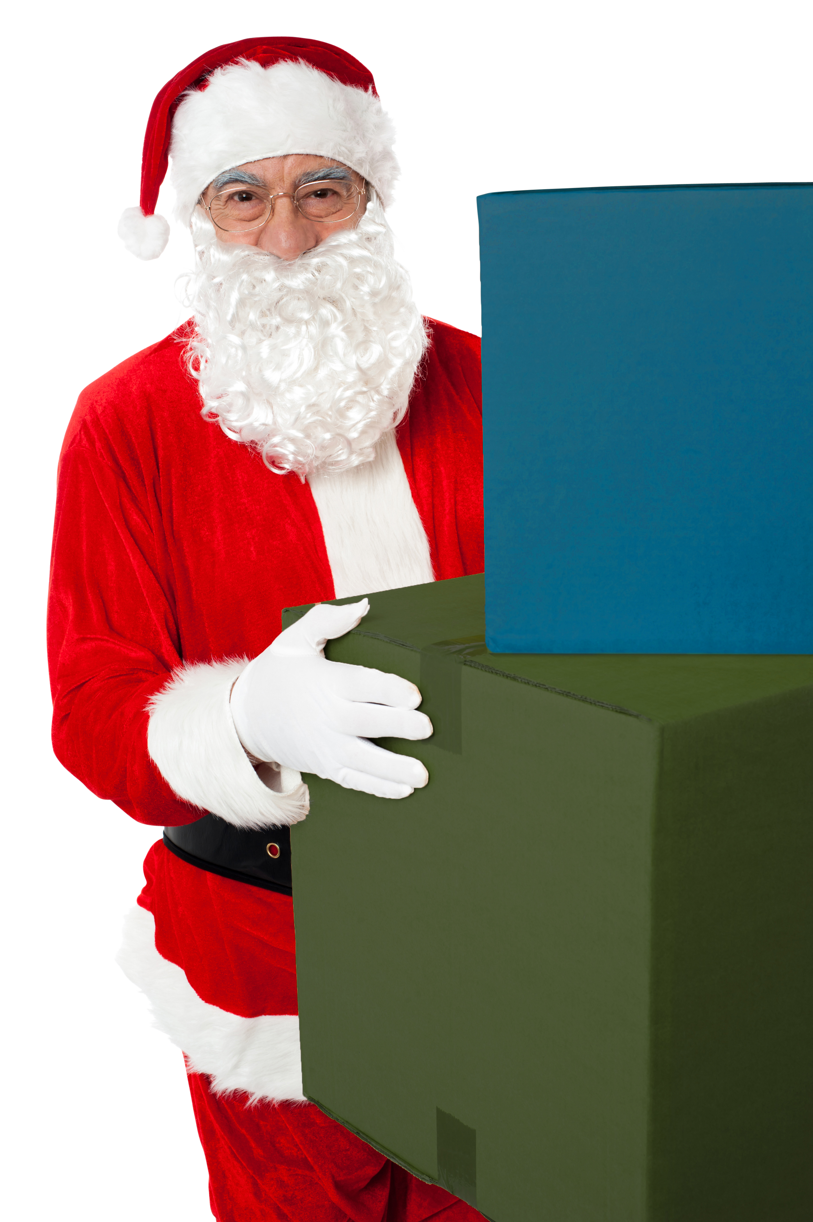 Santa Claus Holding Boxes PNG Image