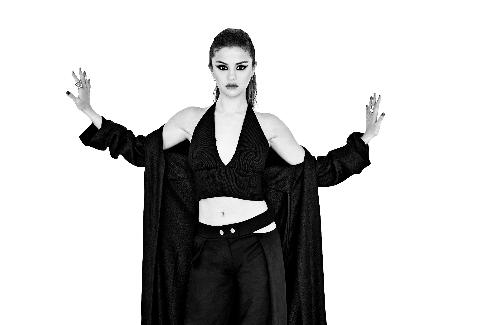 Selena Gomez Black and White PNG Image