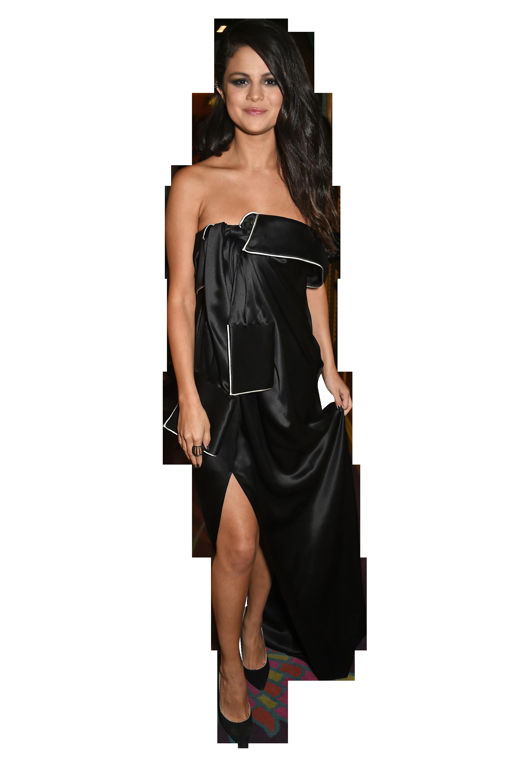 Selena Gomez Black Dress PNG Image