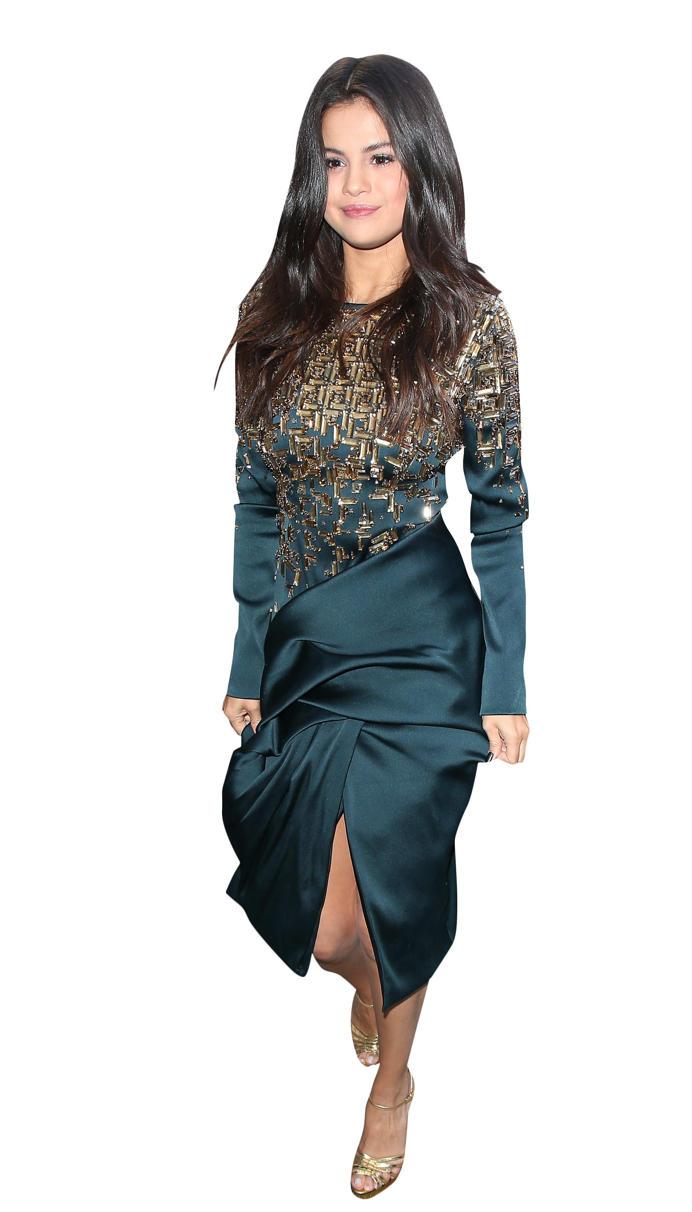 Selena Gomez Blue Dress PNG Image