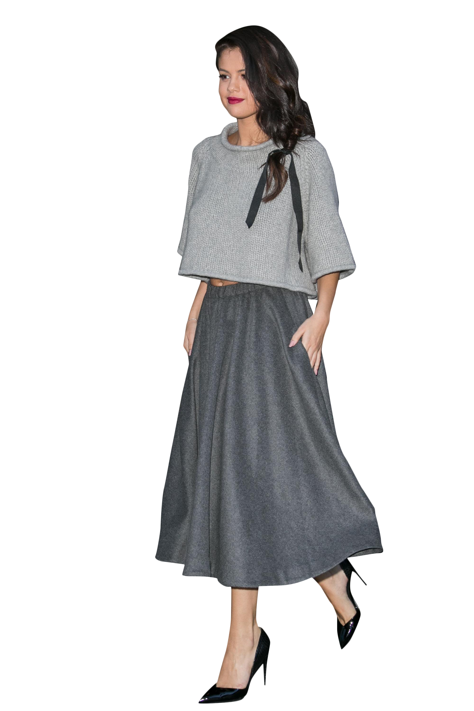 Selena Gomez Grey Dress PNG Image