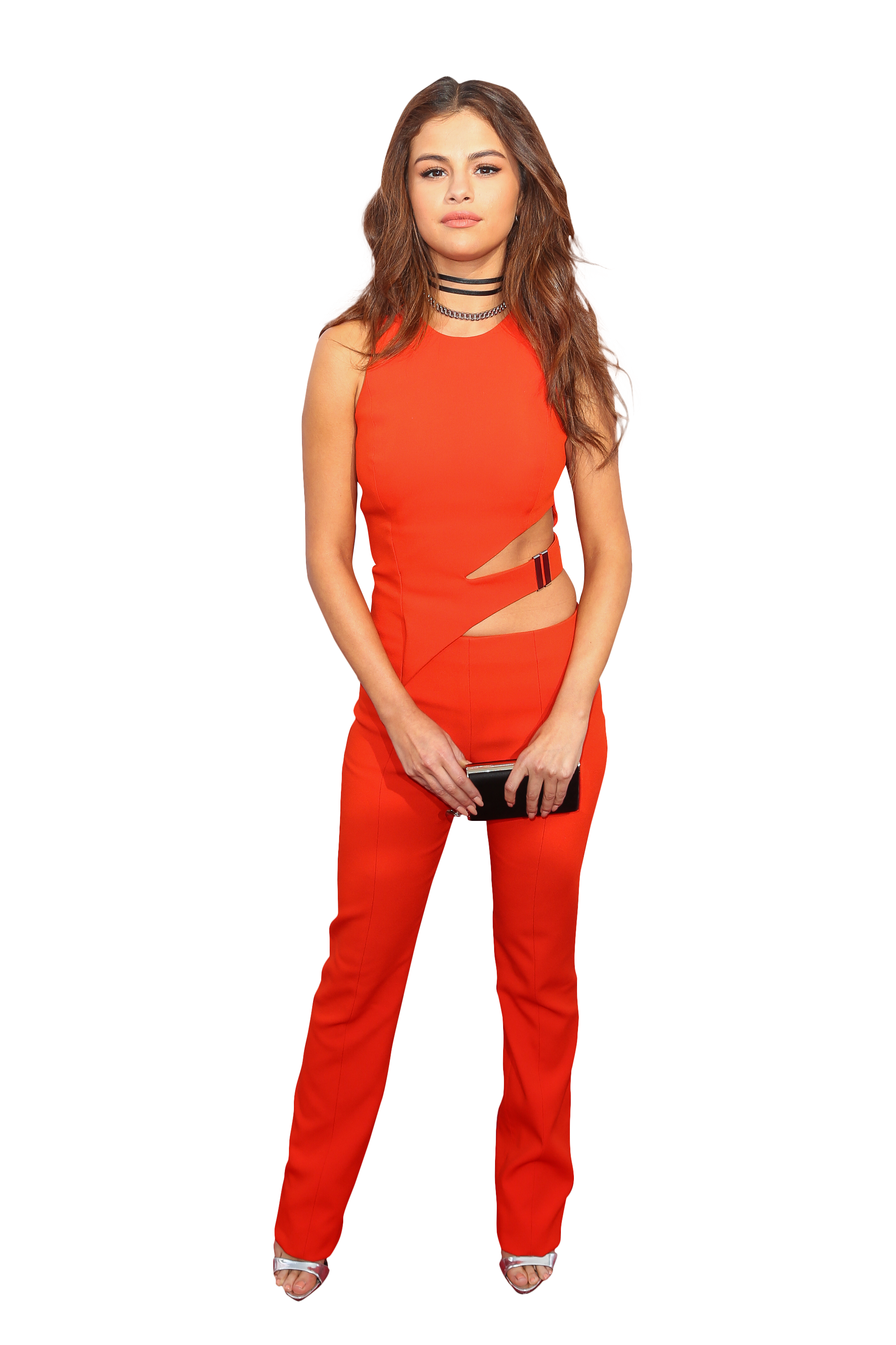 Selena Gomez in a red Dress PNG Image