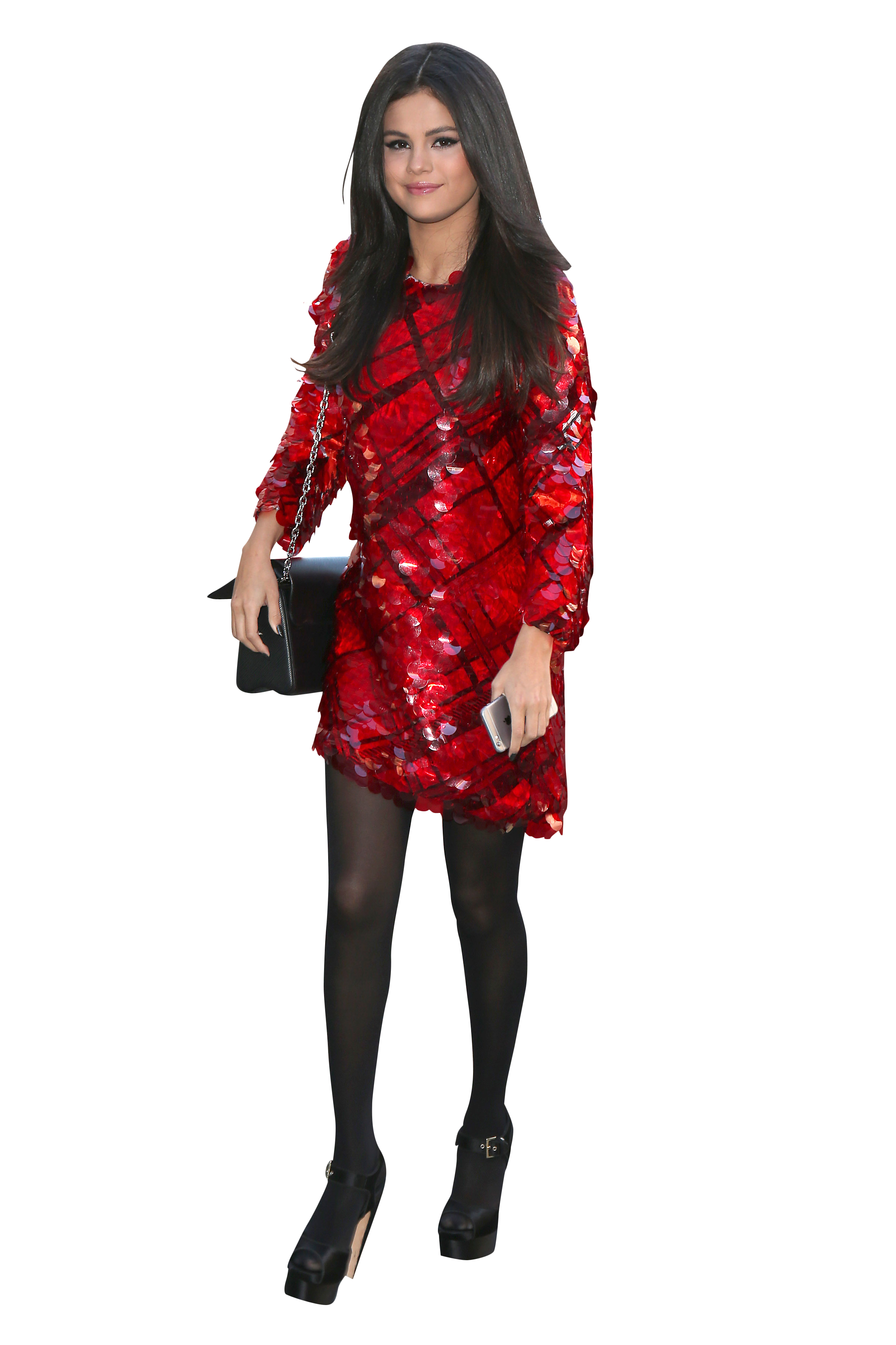 Selena Gomez in Red Dress and Black Pantyhose PNG Image ...