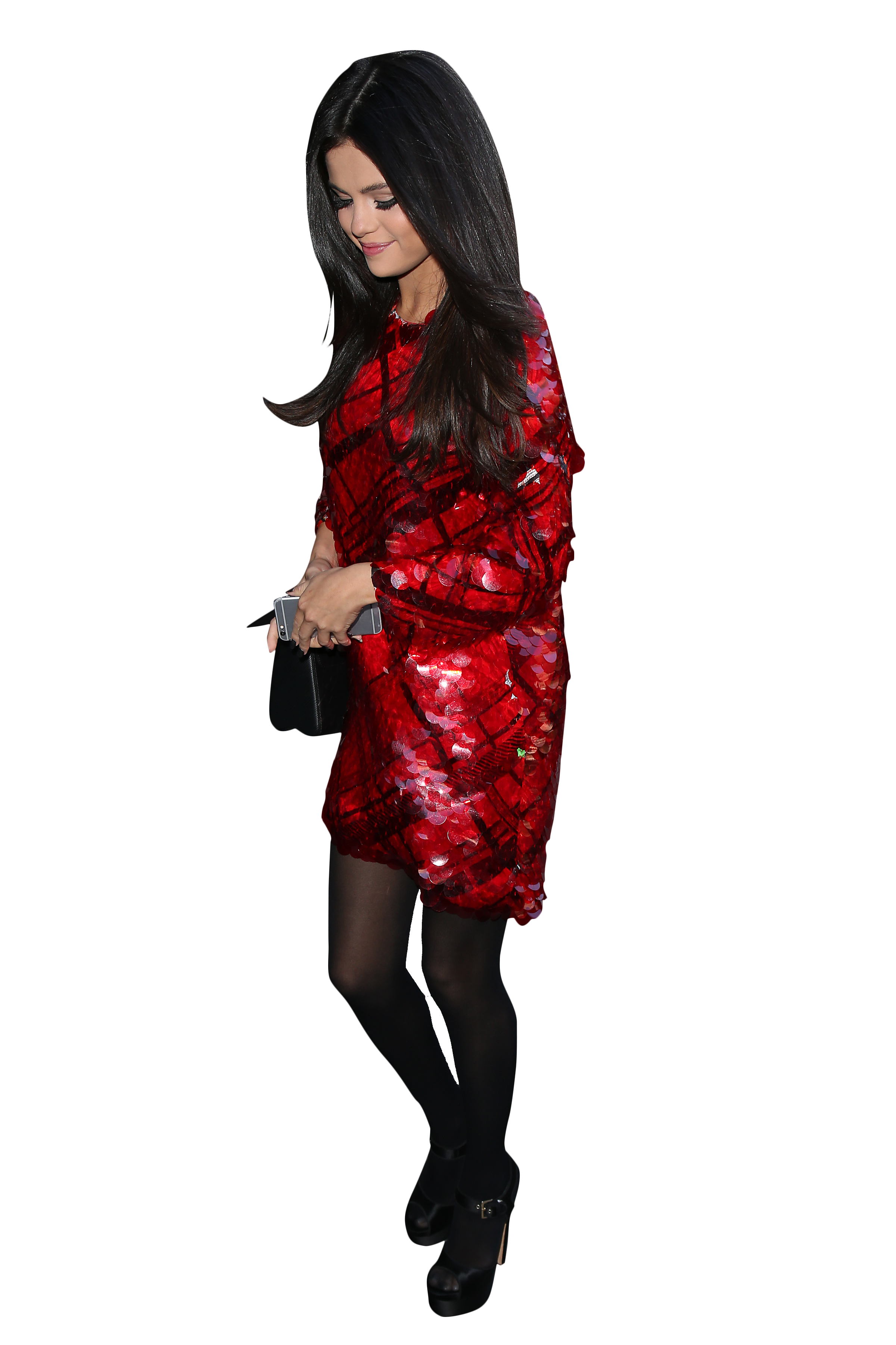 Selena Gomez in Red Dress and Black Pantyhose PNG Image