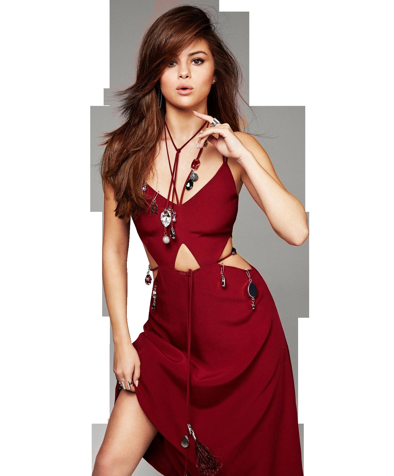 Selena Gomez Red Dress PNG Image