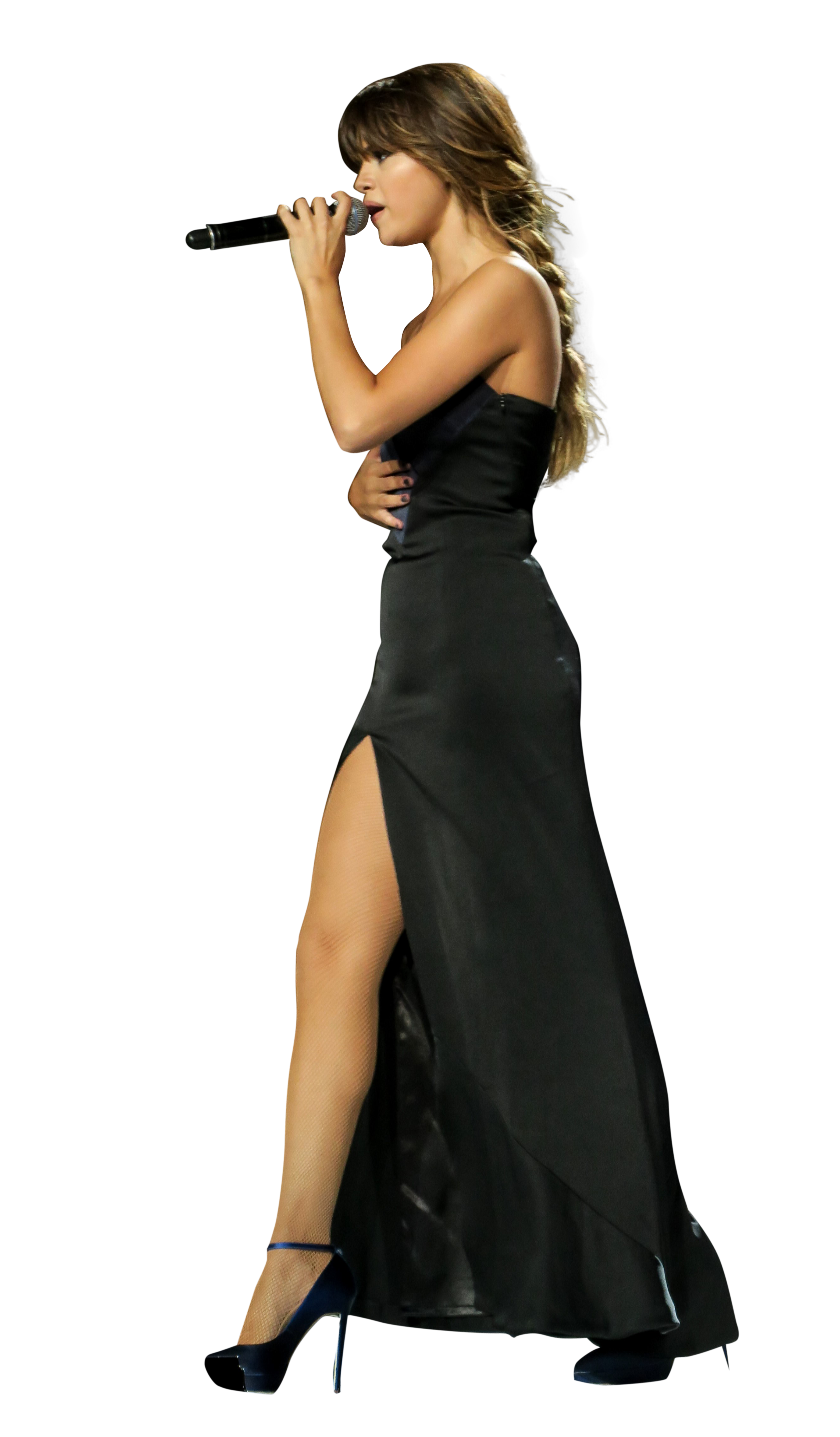 Selena Gomez Singing on Stage PNG Image