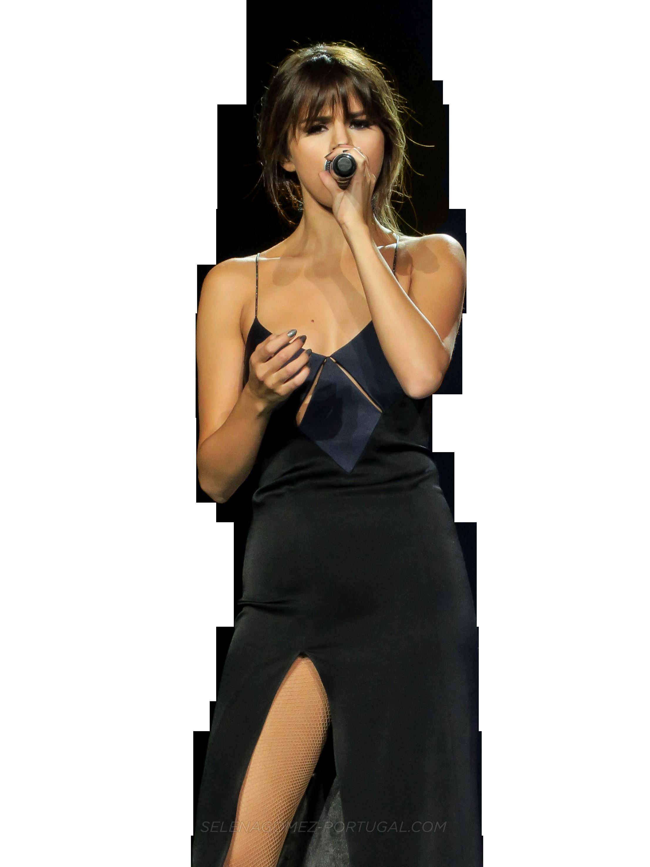 Selena Gomez Singing on Stage PNG Image