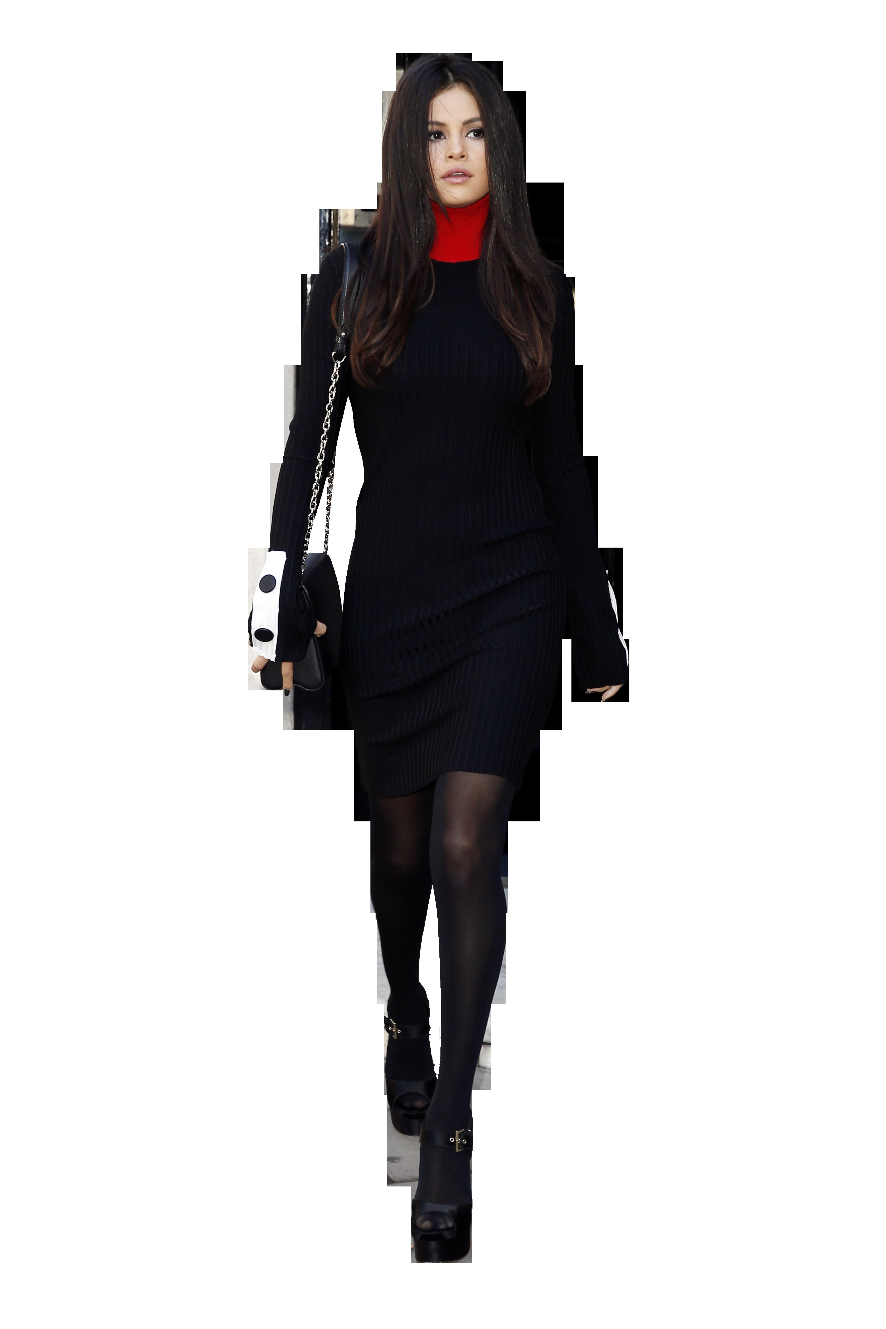 Selena Gomez Walking in Black PNG Image