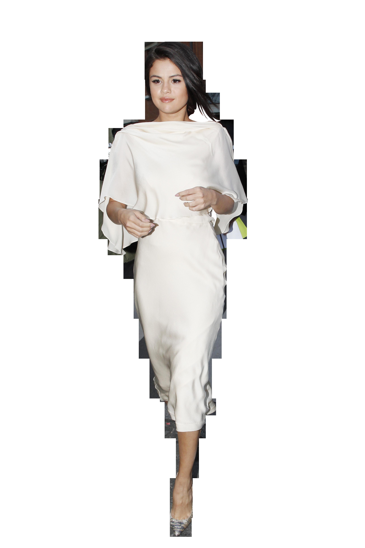 Selena Gomez White Dress PNG Image