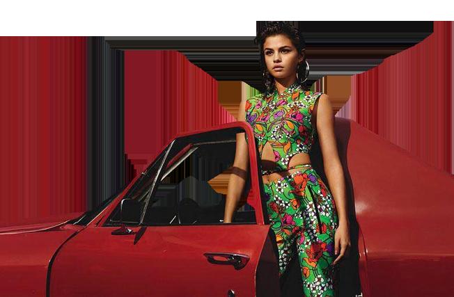 Sexy Selena Gomez next to a car