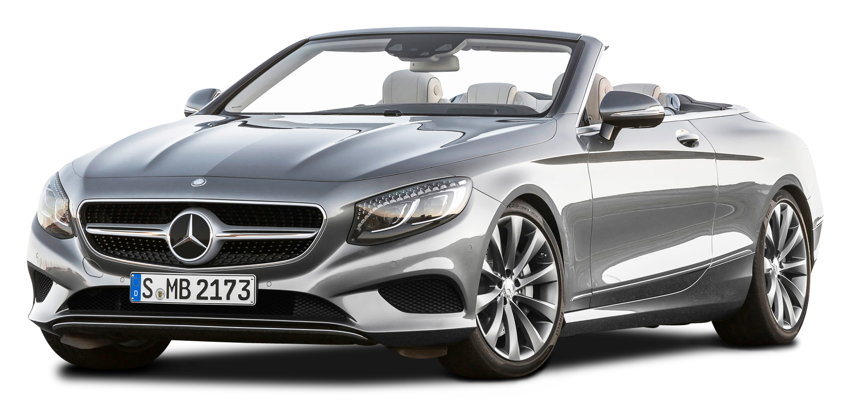 Silver Mercedes Benz S Class Cabriolet Car PNG Image