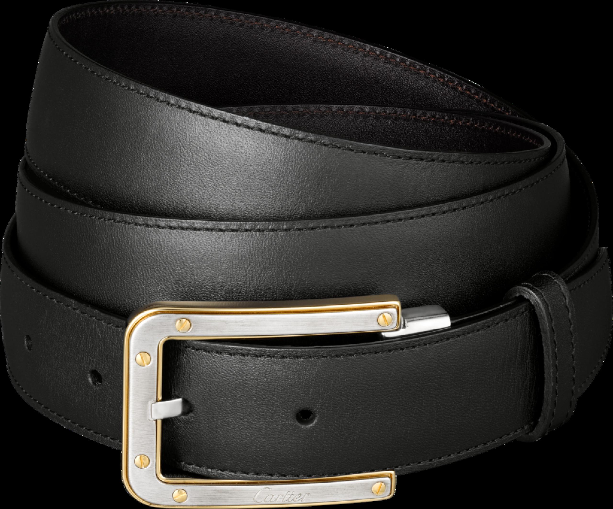 Slim Black Belt With Golden Buckles PNG Image