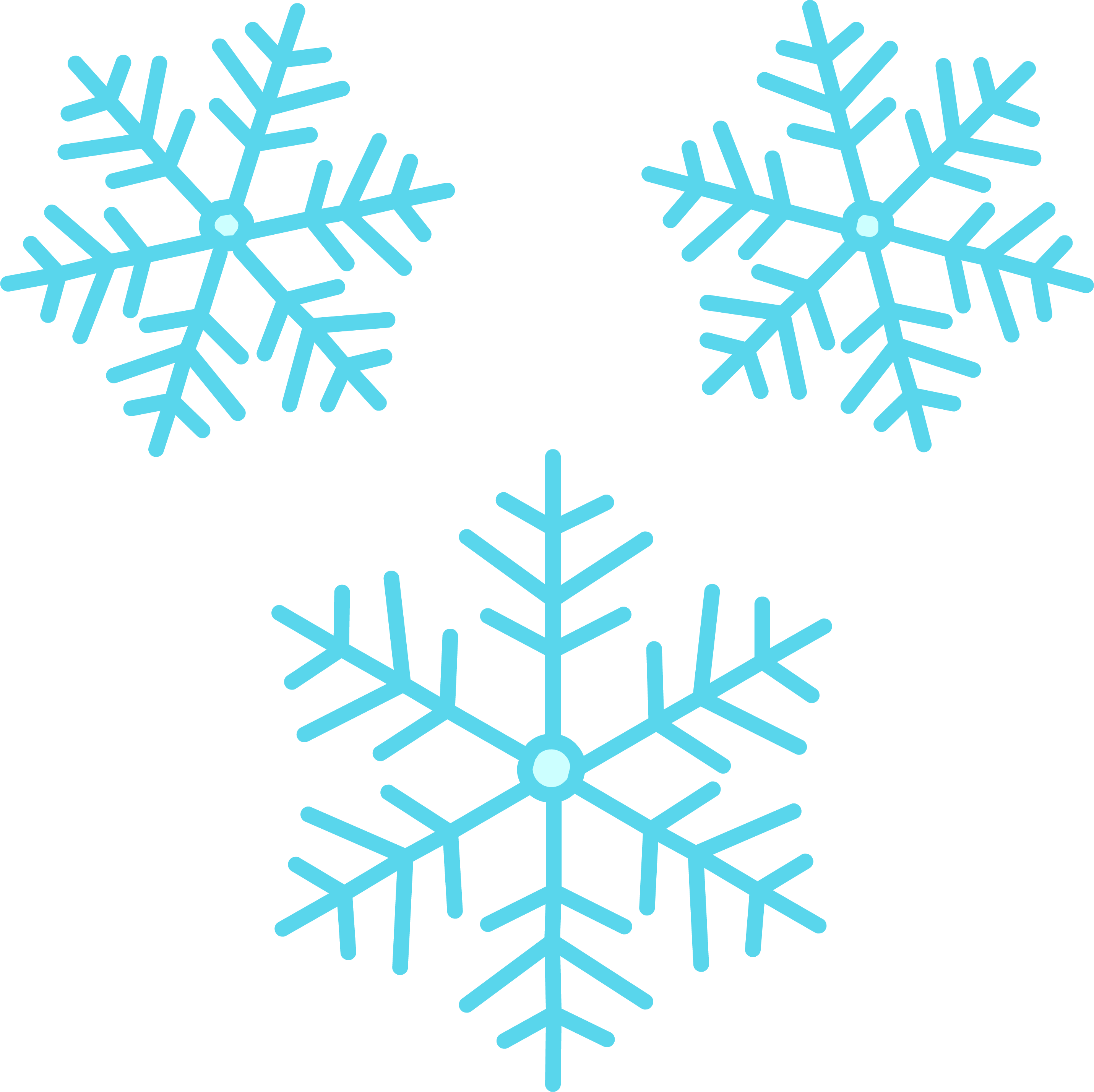 Three Icy Blue Snowflake PNG Image