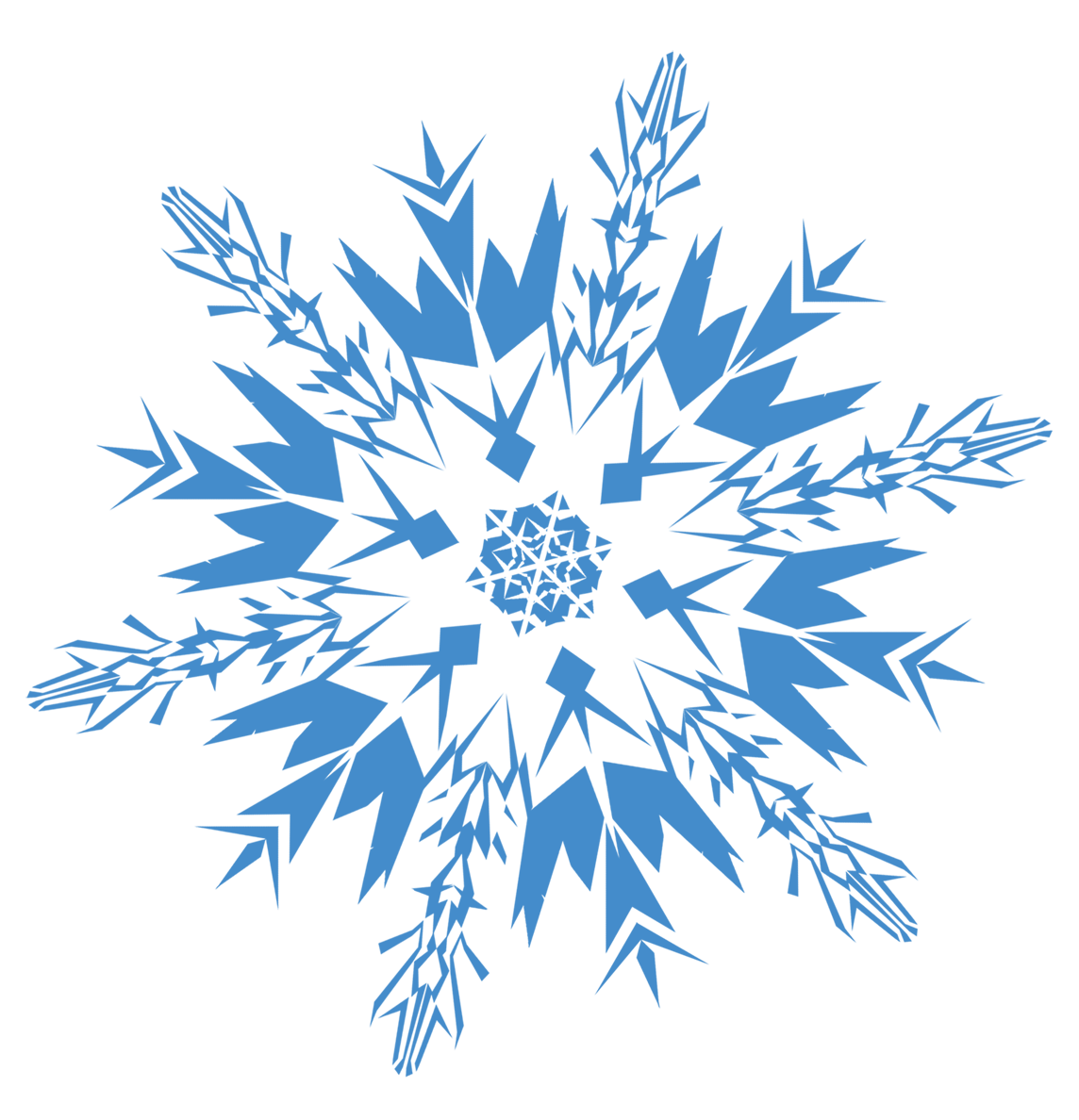 Blue Frozen Snowflake PNG Image