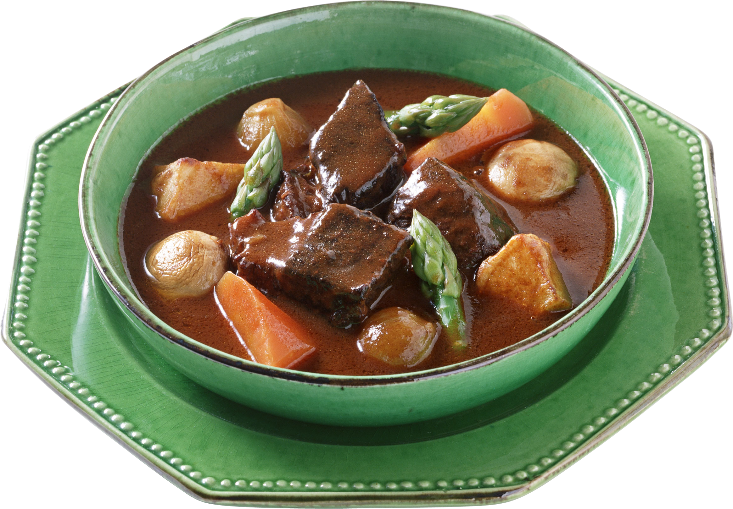 Soup with flesh carrots and potatoes PNG Image