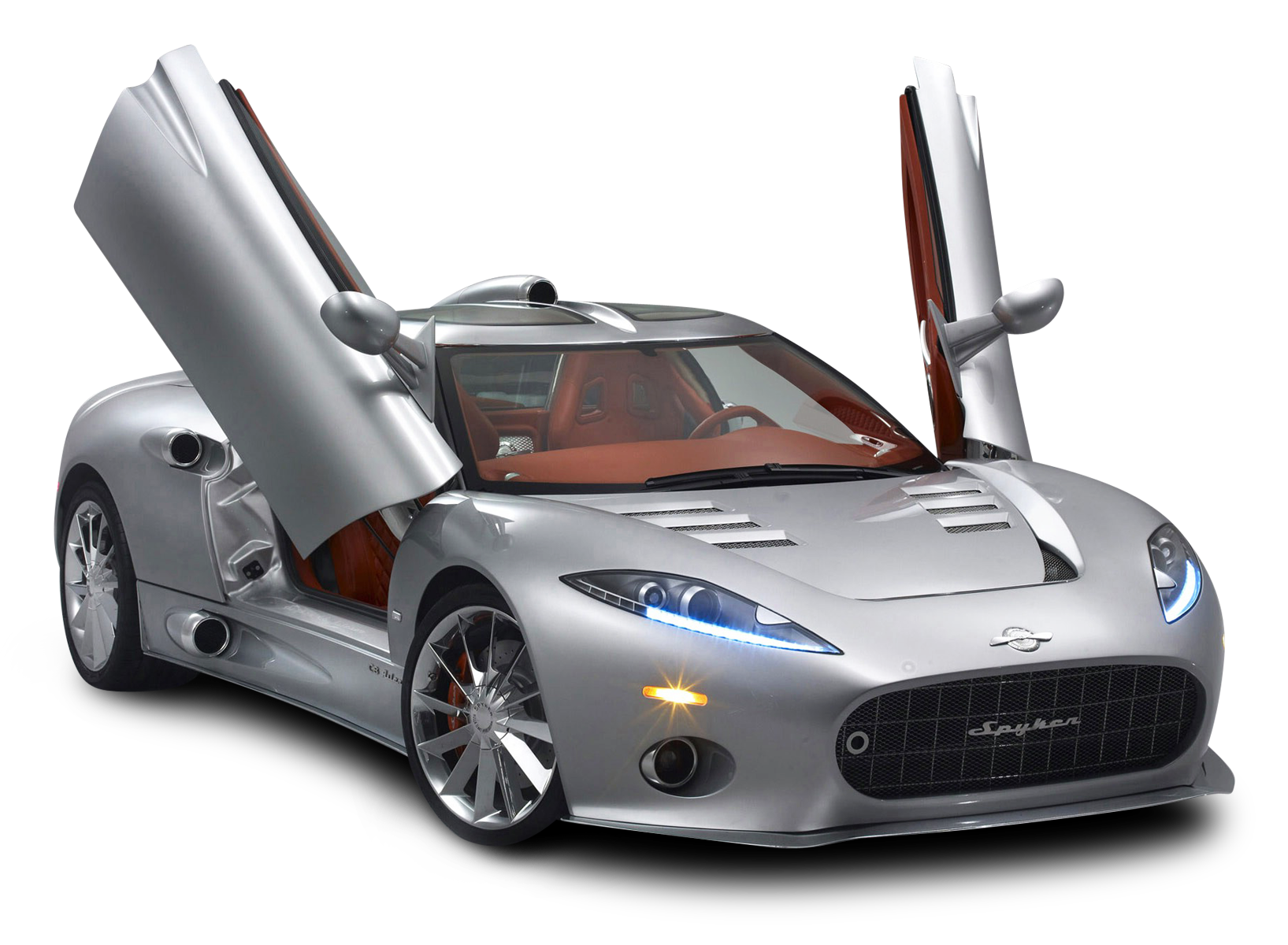 Spyker C8 Silver Car PNG Image