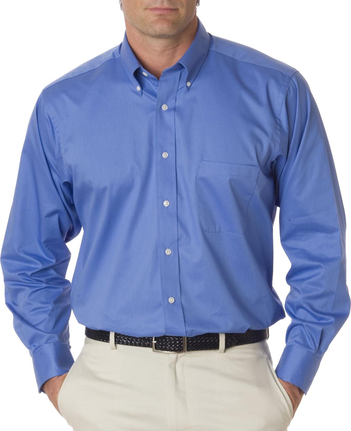 Standard Blue Full Plain Shirt PNG Image