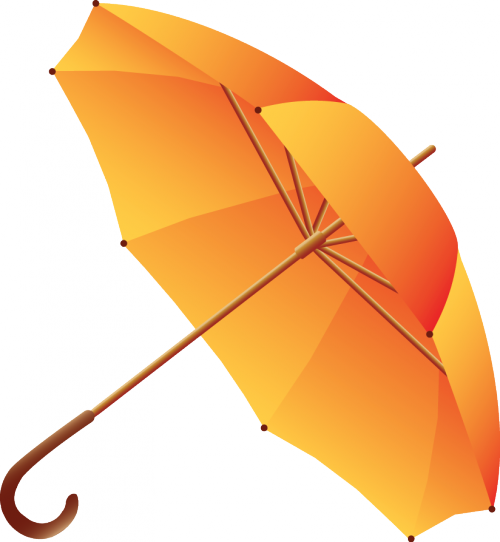 an orange umbrella