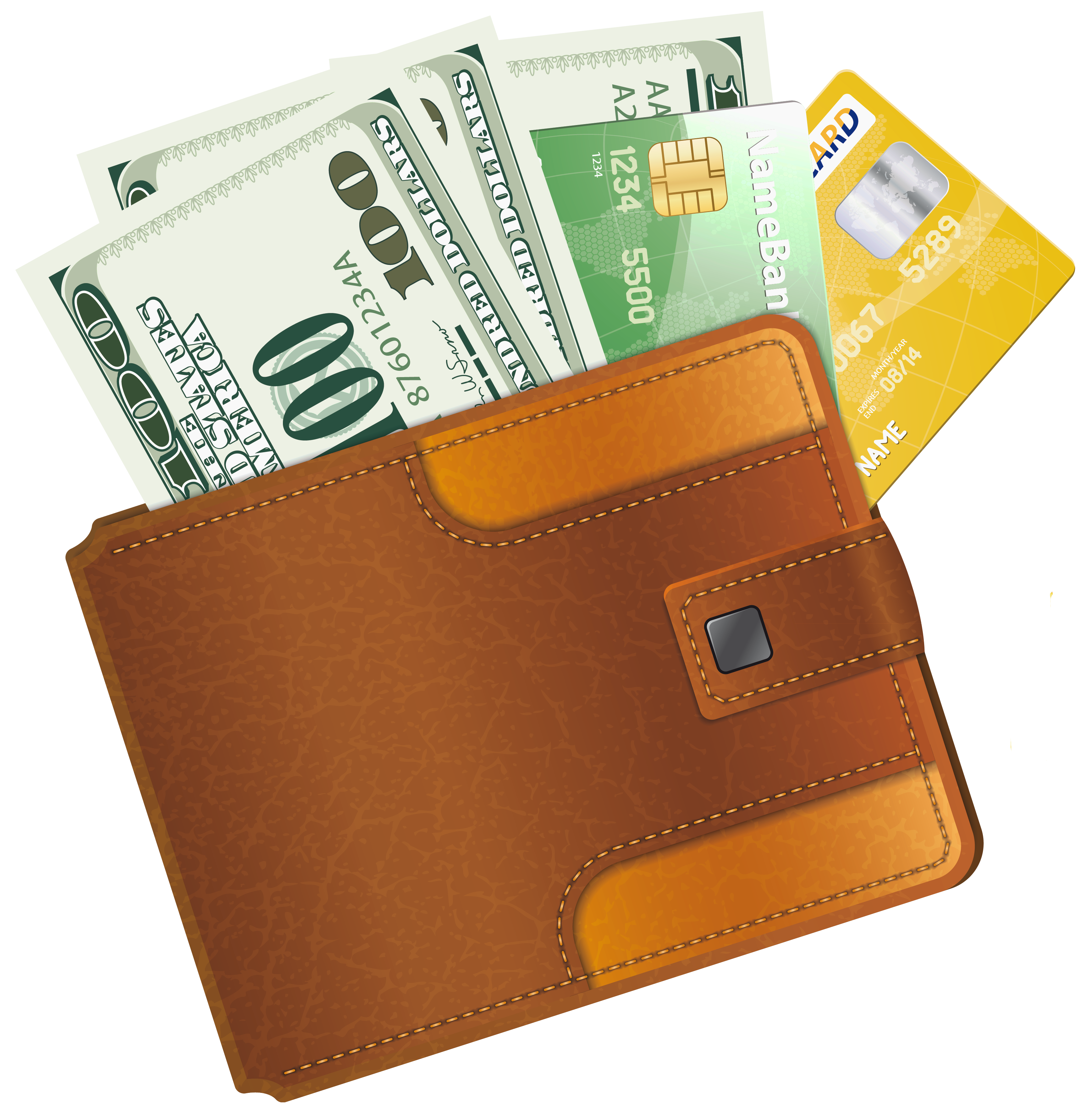 Wallet With Credit Cards PNG Image