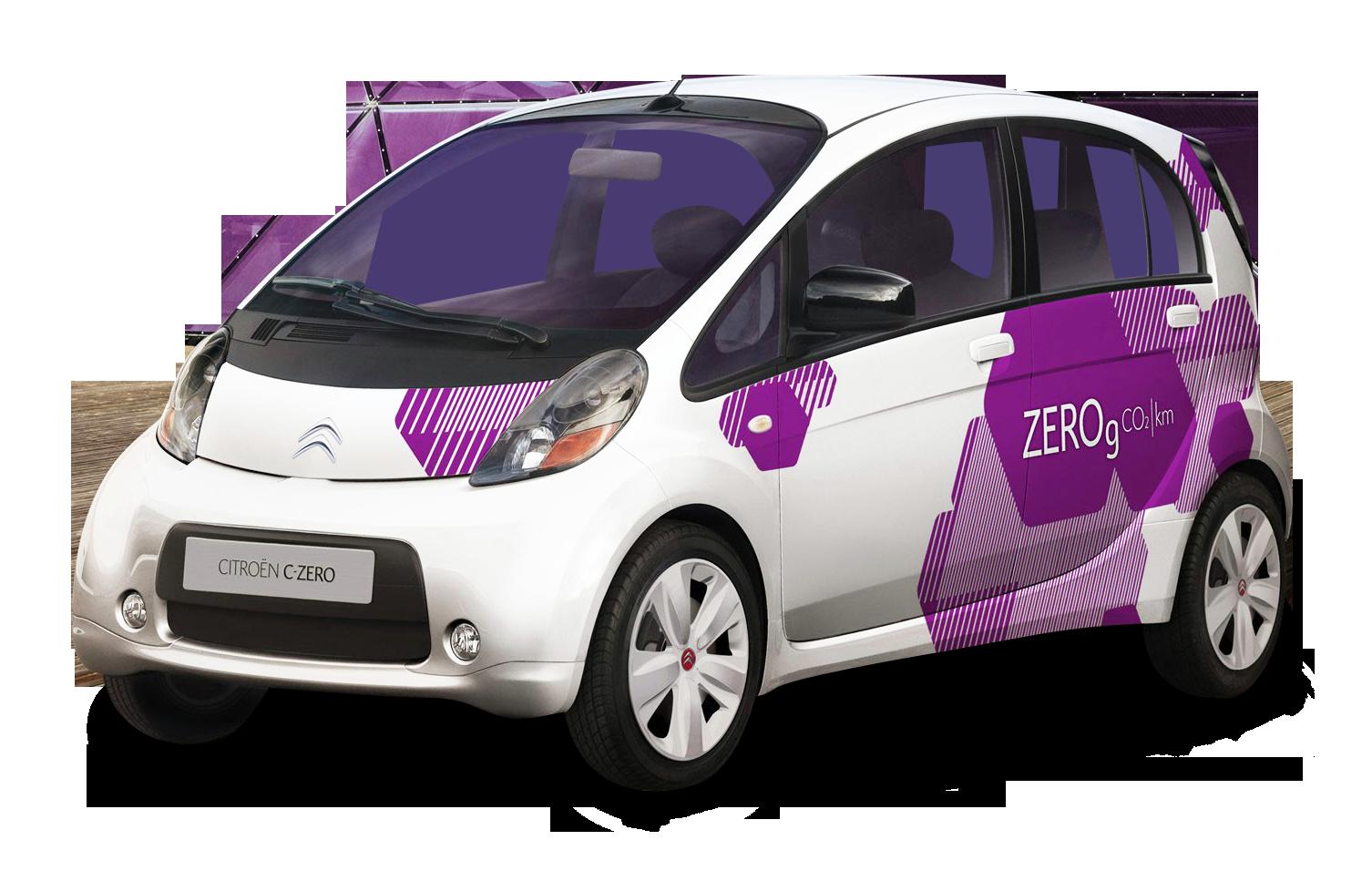 White Citroen C Zero Small Car PNG Image