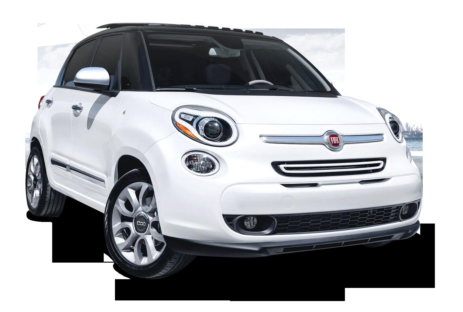 White Fiat 500L Car PNG Image