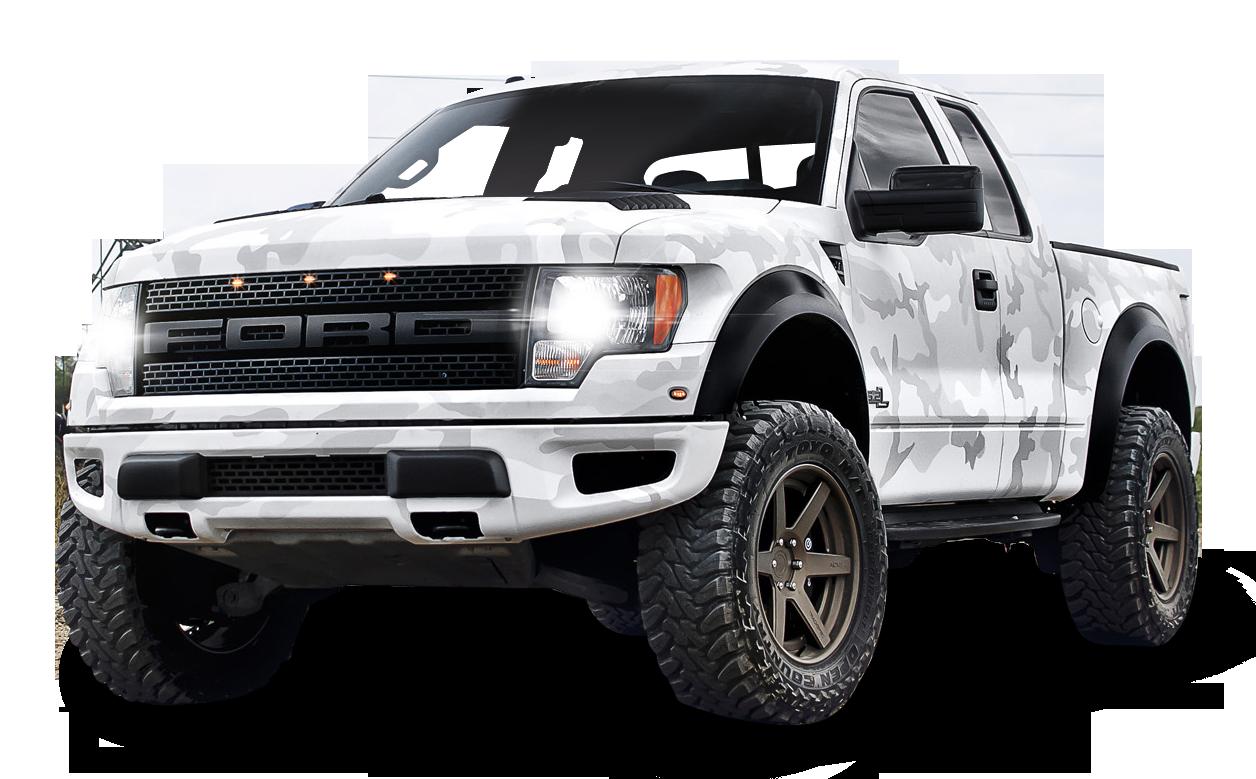White Ford F 150 Raptor SUV Car