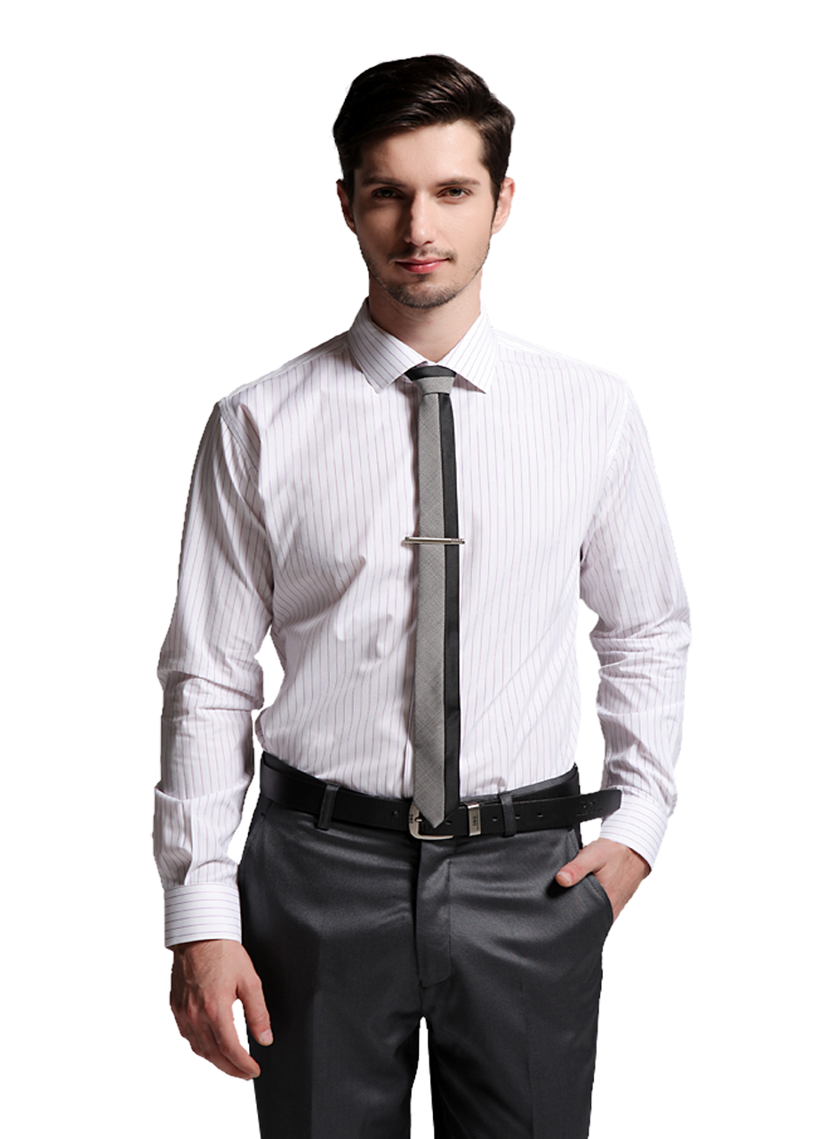 White Full Shirt With Pink Strip & Stylish Tie PNG Image
