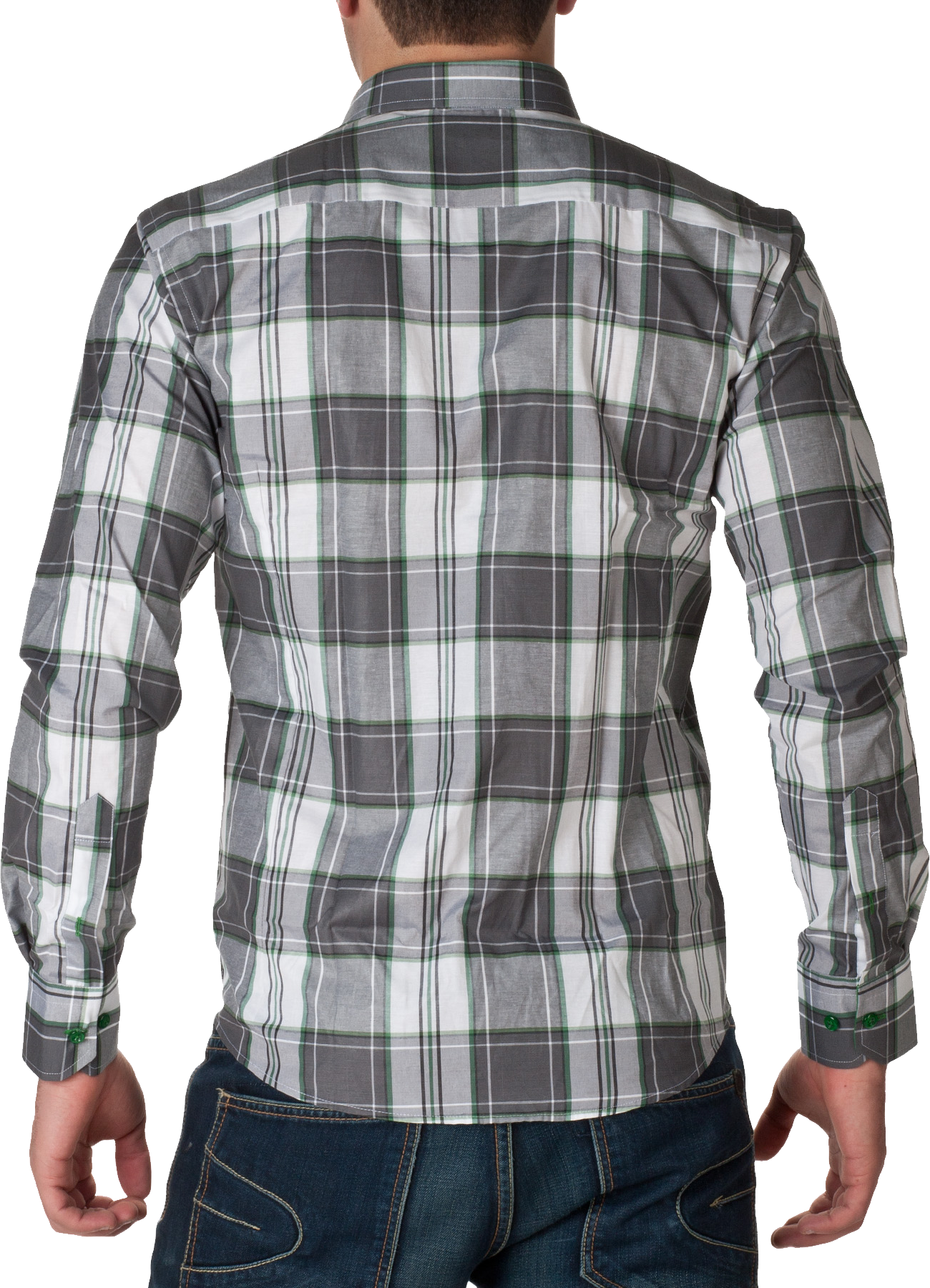 White & GreyCheck Full Dress Shirt