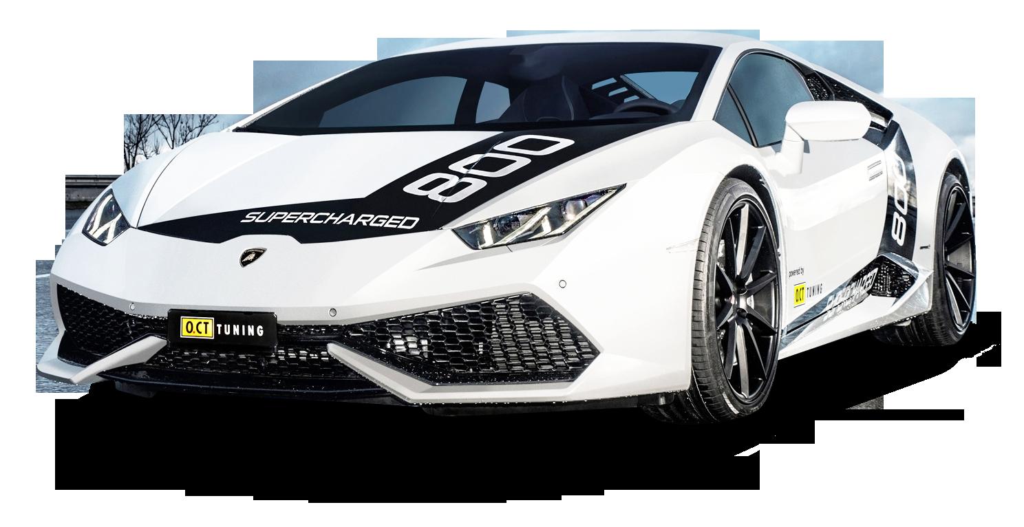 White Lamborghini Huracan O CT800 Car PNG Image