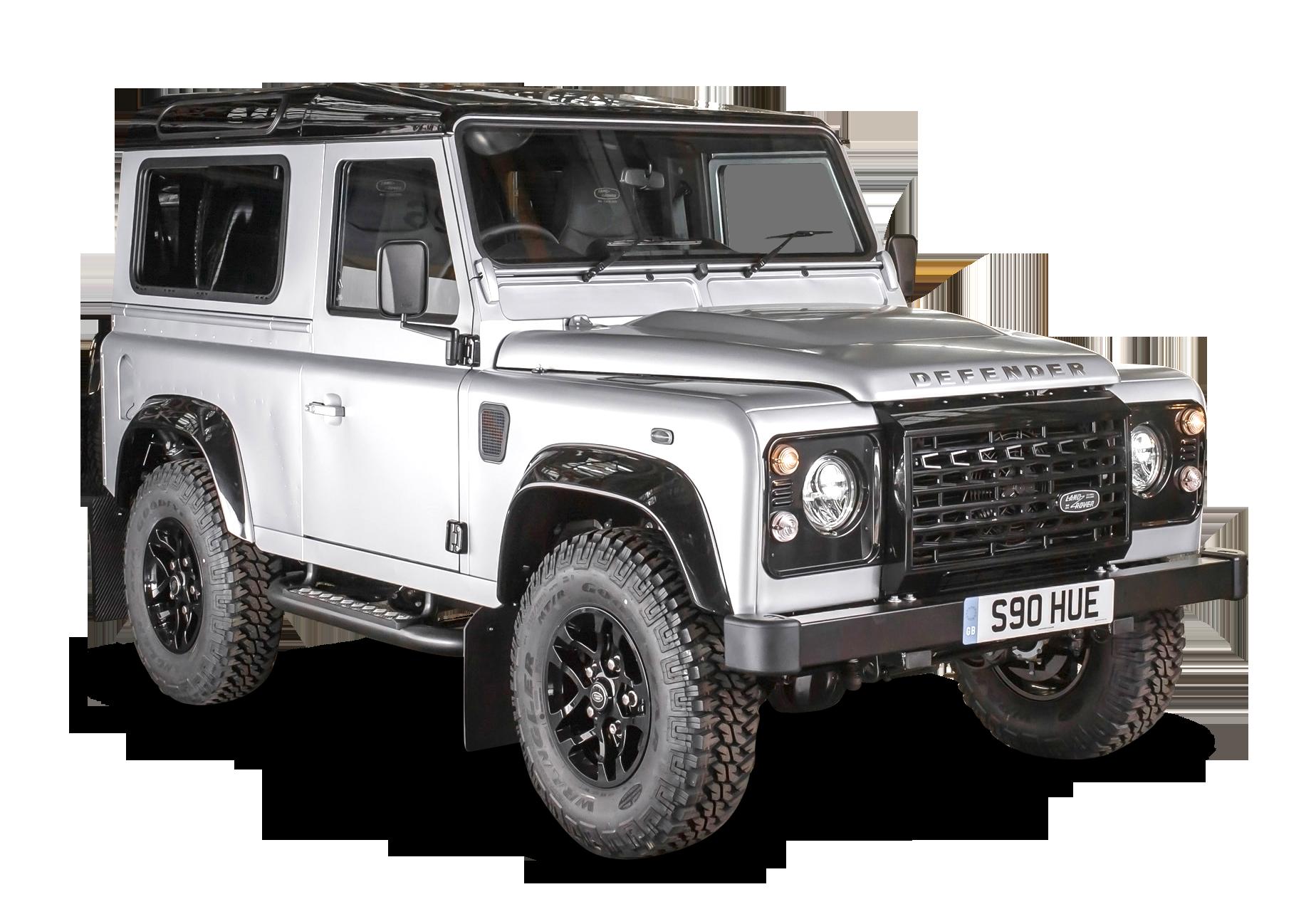 White Land Rover Defender Car PNG Image