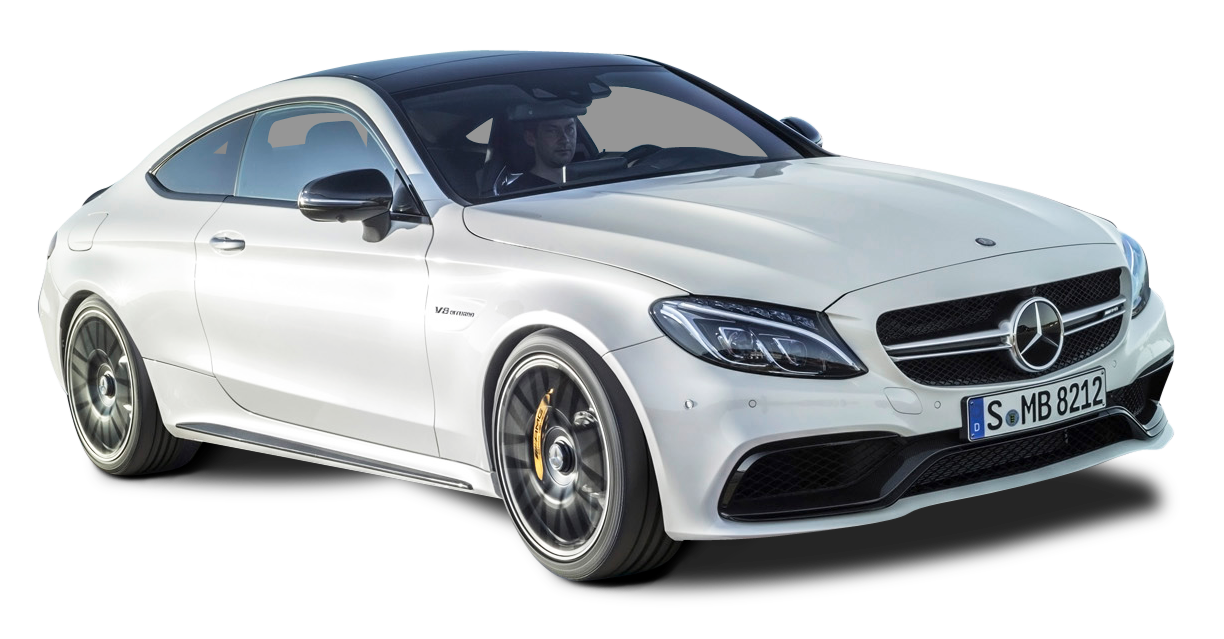 White Mercedes AMG C63 S Coupe Car PNG Image