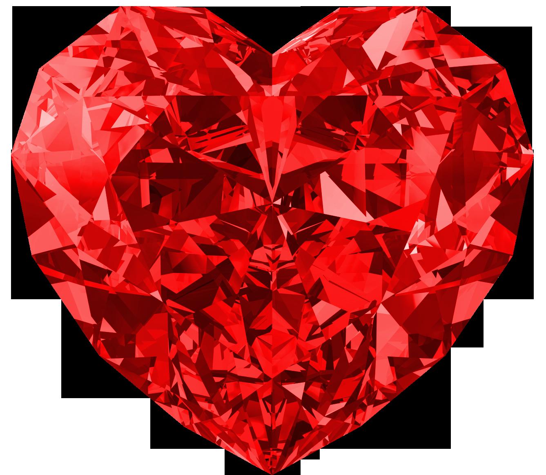 White Red Heart Diamond