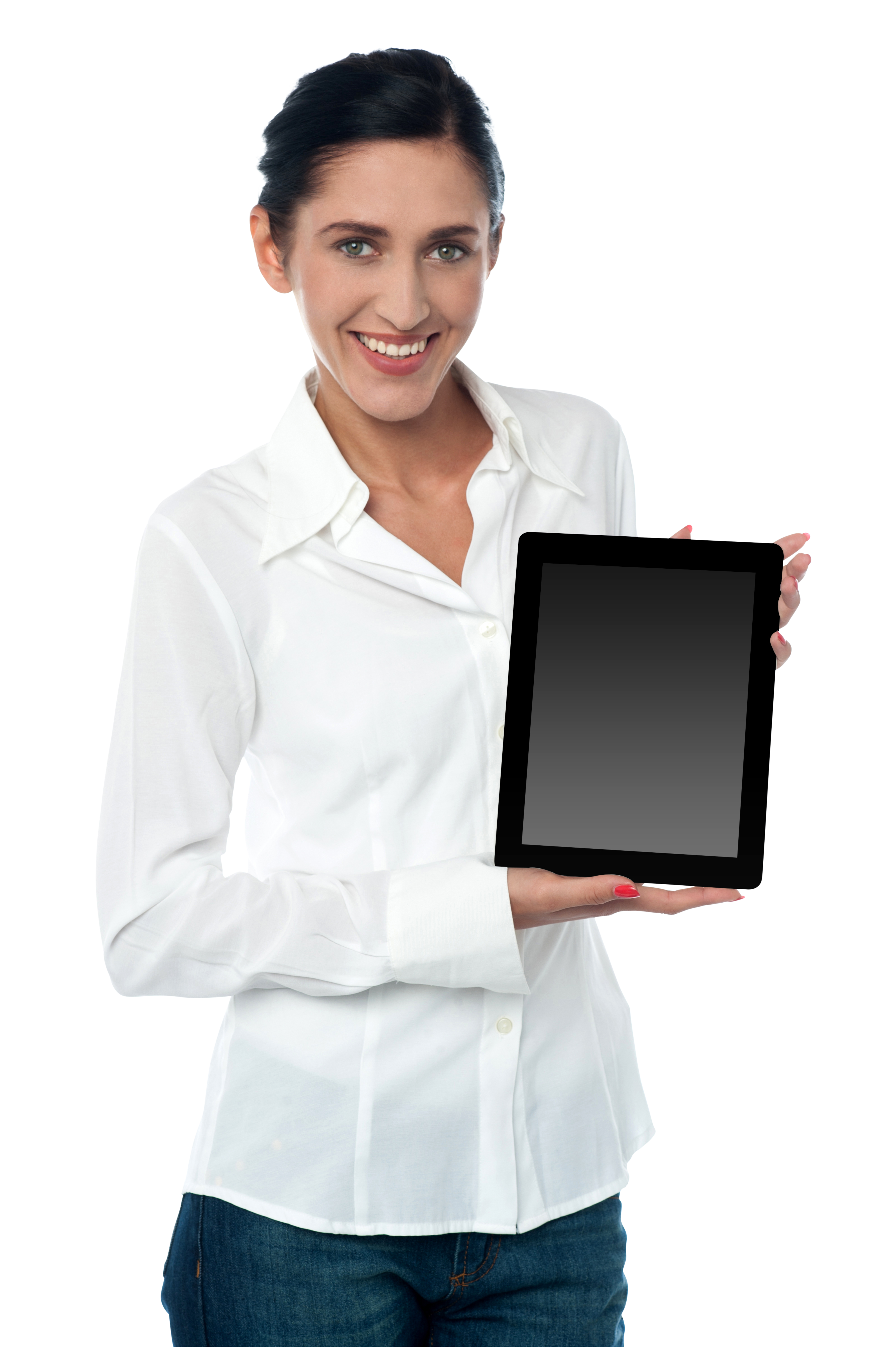 Woman Holding iPad PNG Image