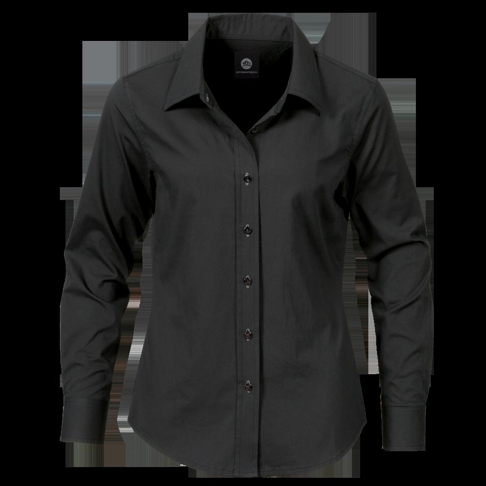 Women Black Dress Shirt PNG Image