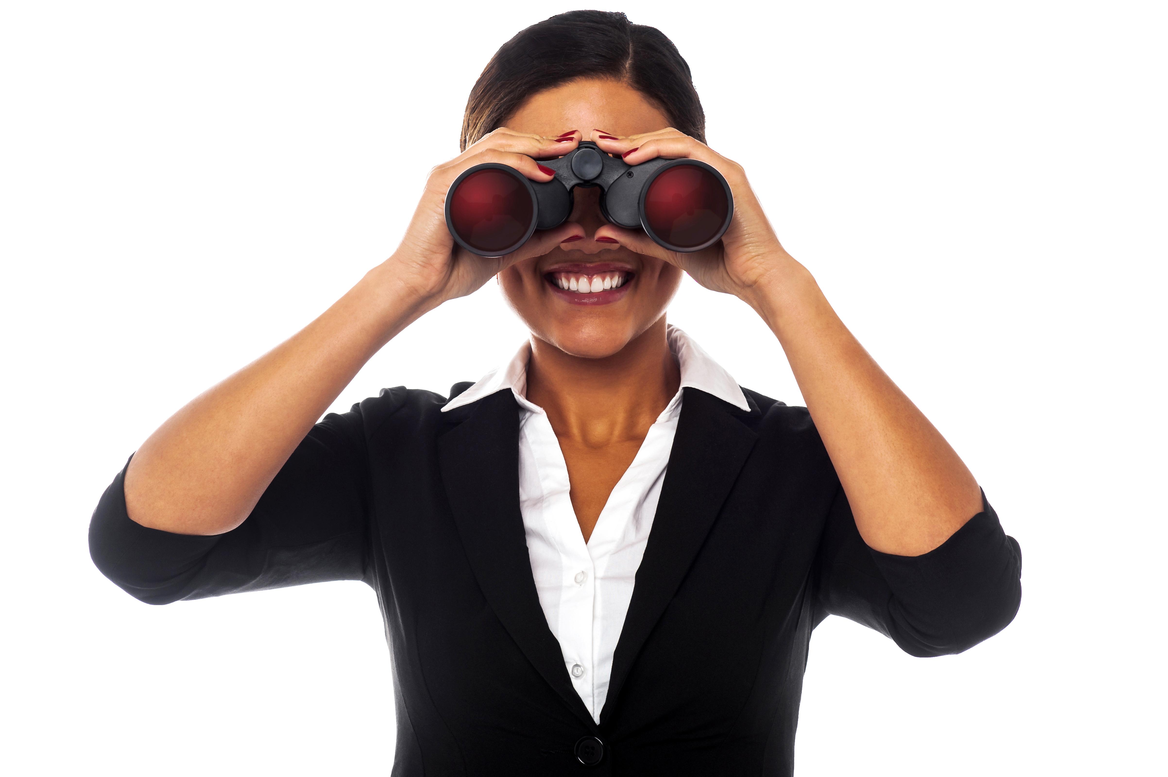 Women Holding Binoculars PNG Image