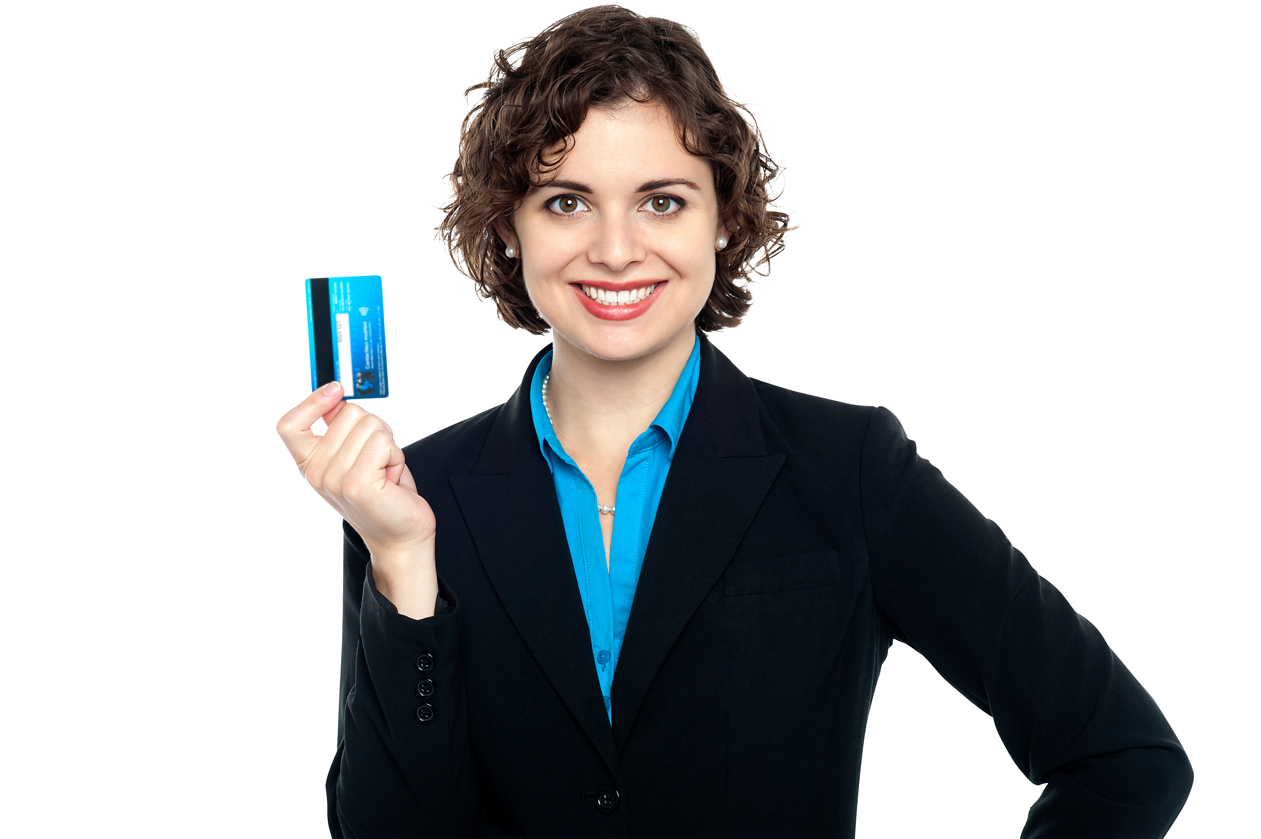 Women Holding Credit Card PNG Image