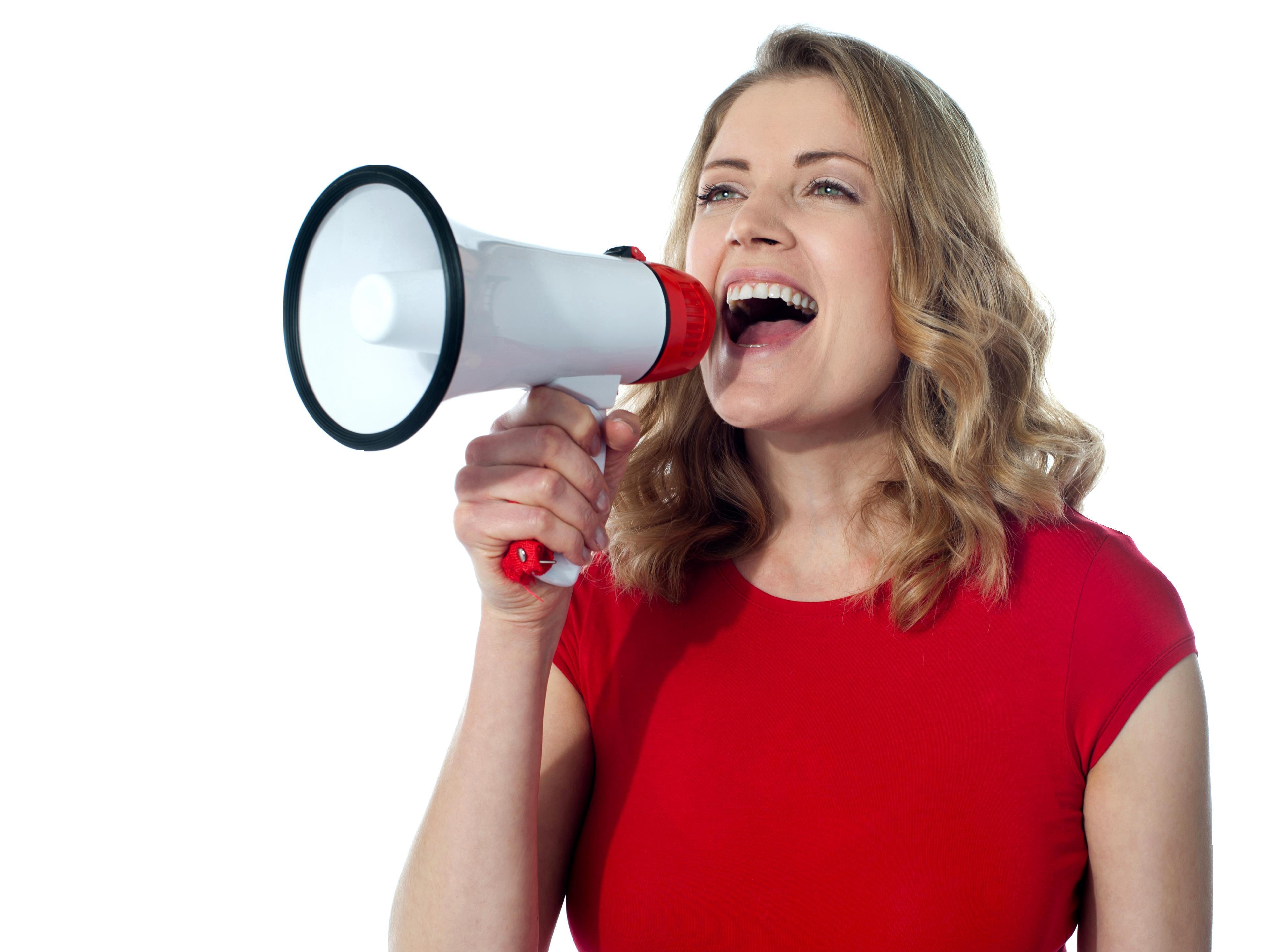 Women Holding Loudspeaker PNG Image