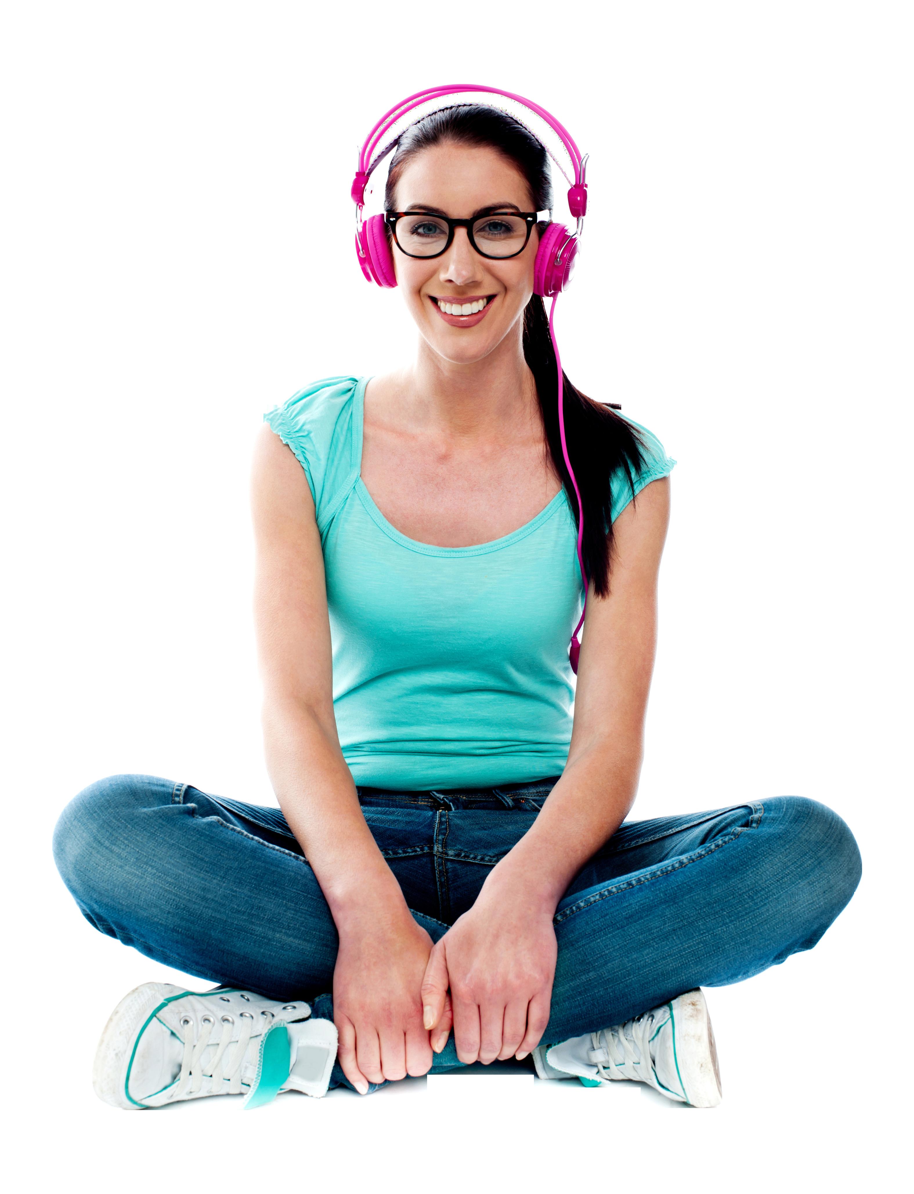 Women Listening Music PNG Image