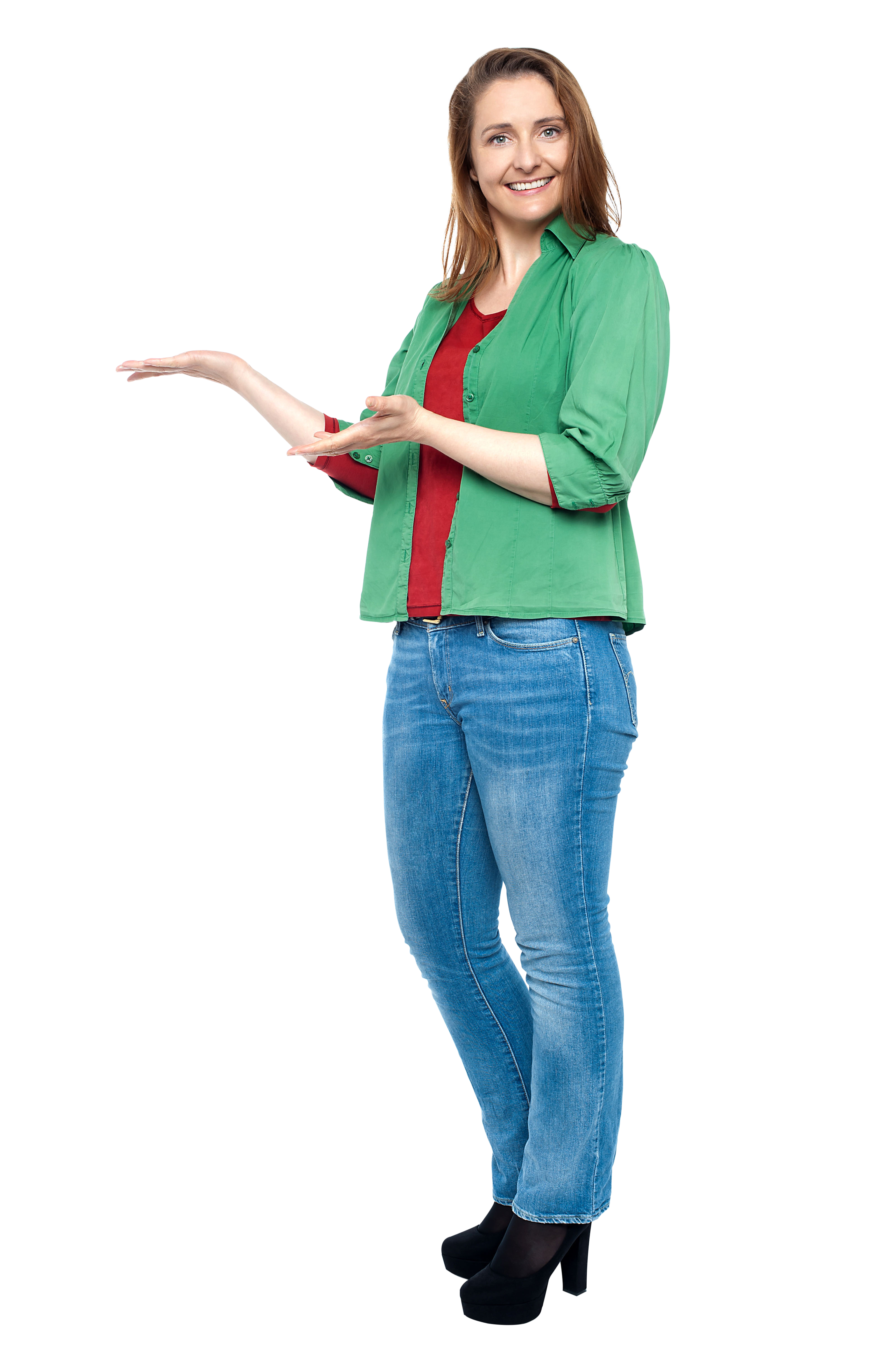 Women Pointing Left PNG Image