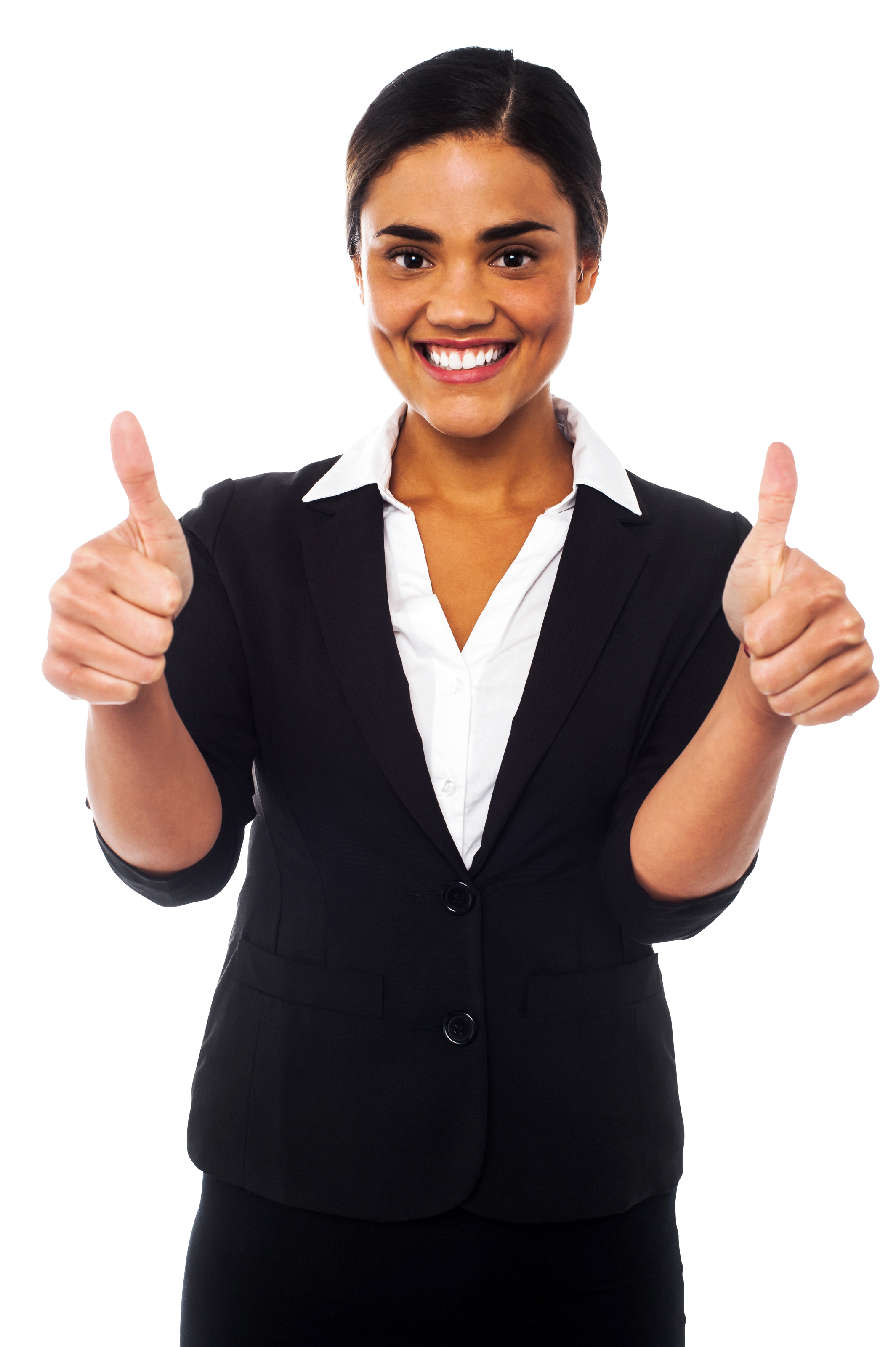 Women Pointing Thumbs Up