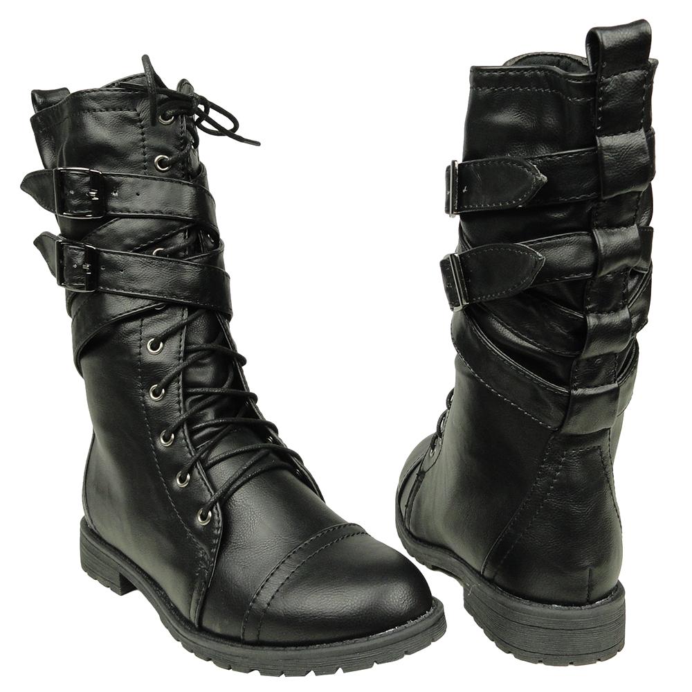 Women's Mid Calf Cross Strap Buckle Combat Boots