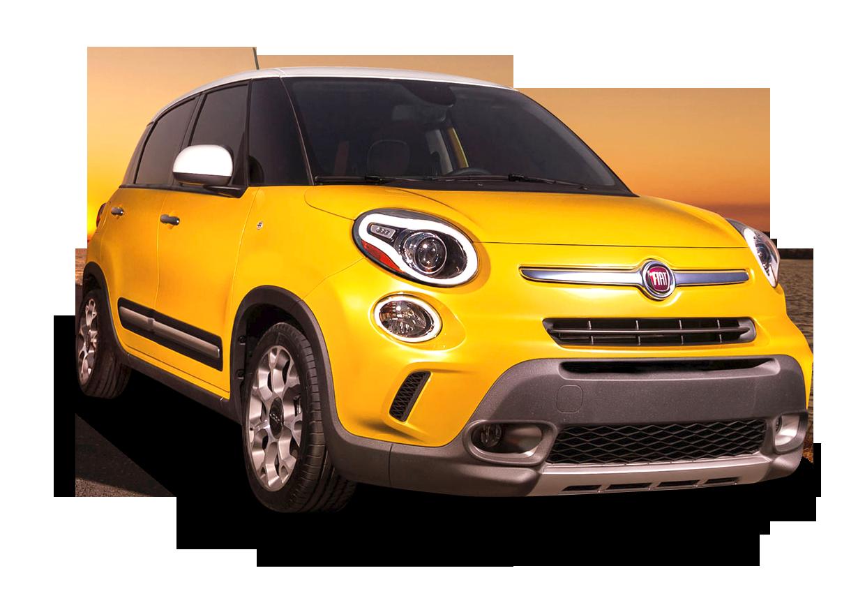 Yellow Fiat 500l Car PNG Image