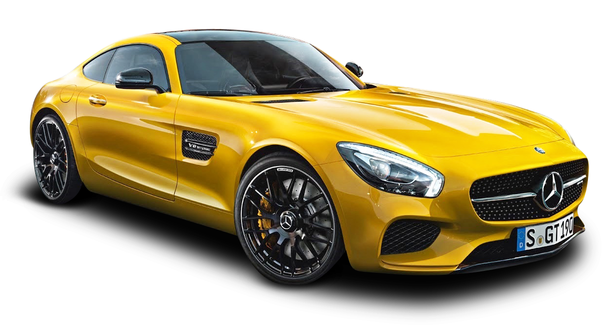 Yellow Mercedes Benz AMG GT Car PNG Image