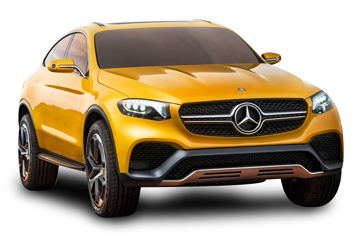 Yellow Mercedes Benz GLC Coupe Car PNG Image
