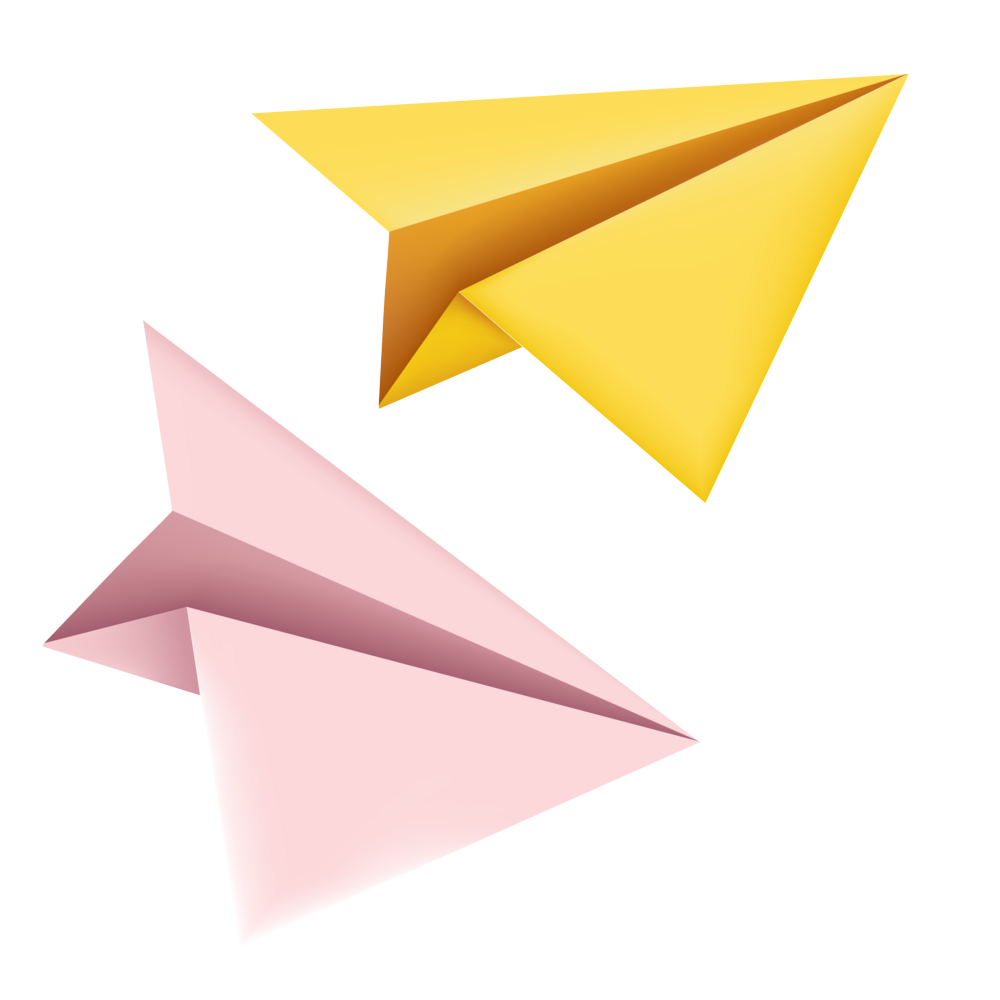 Yellow  Paper Plane PNG Image