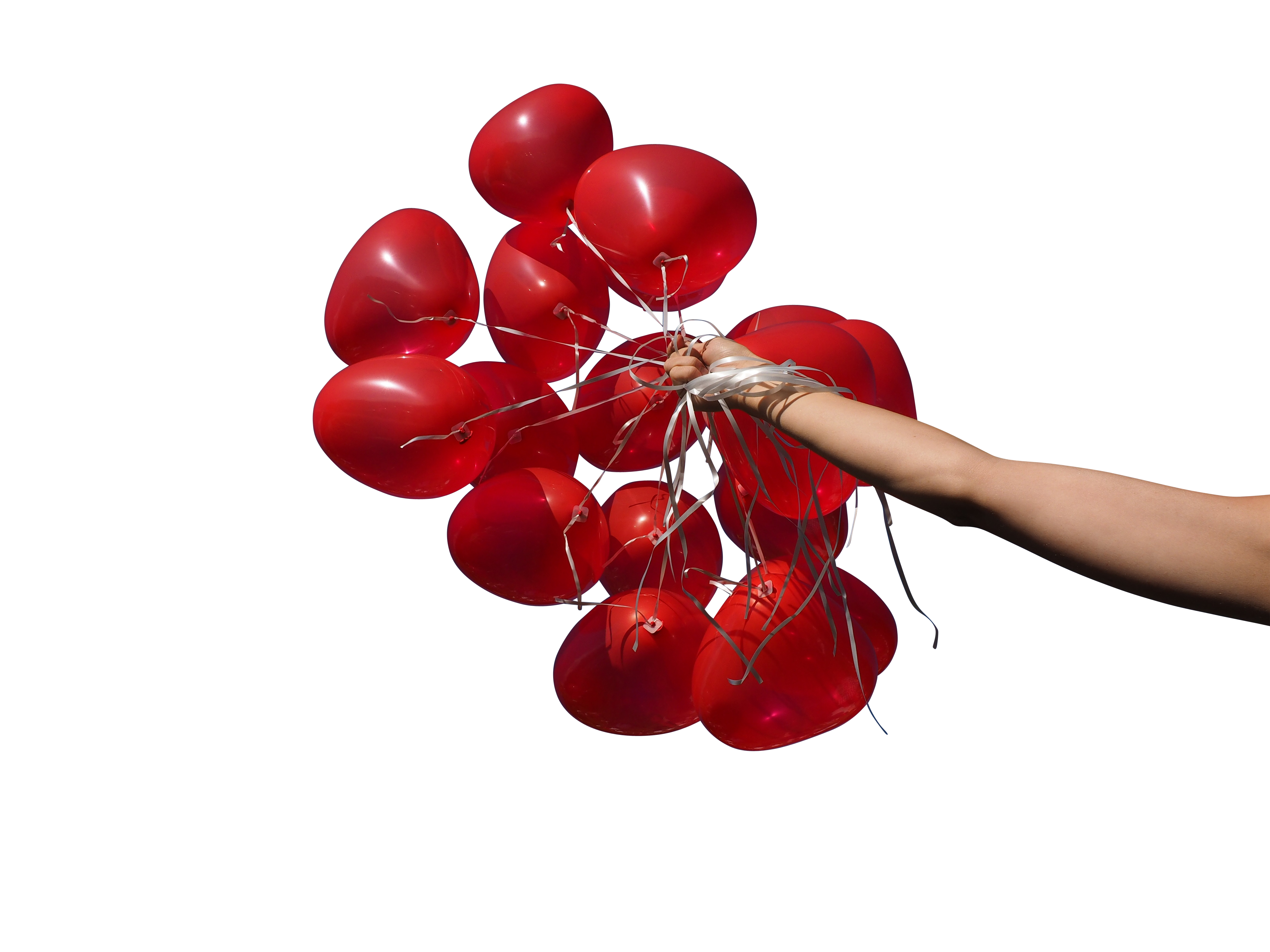 Red Heart Balloons in Hand